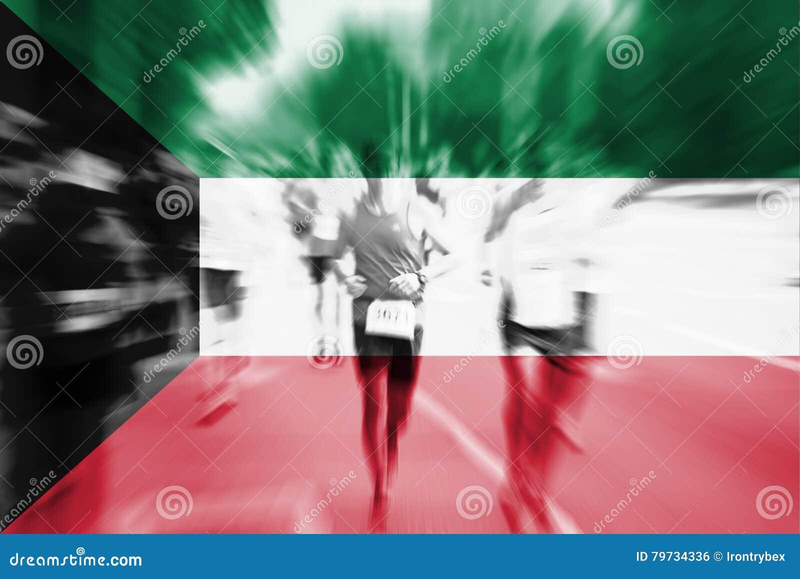 Falta de definición de movimiento del corredor de maratón con la mezcla de la bandera de Kuwait