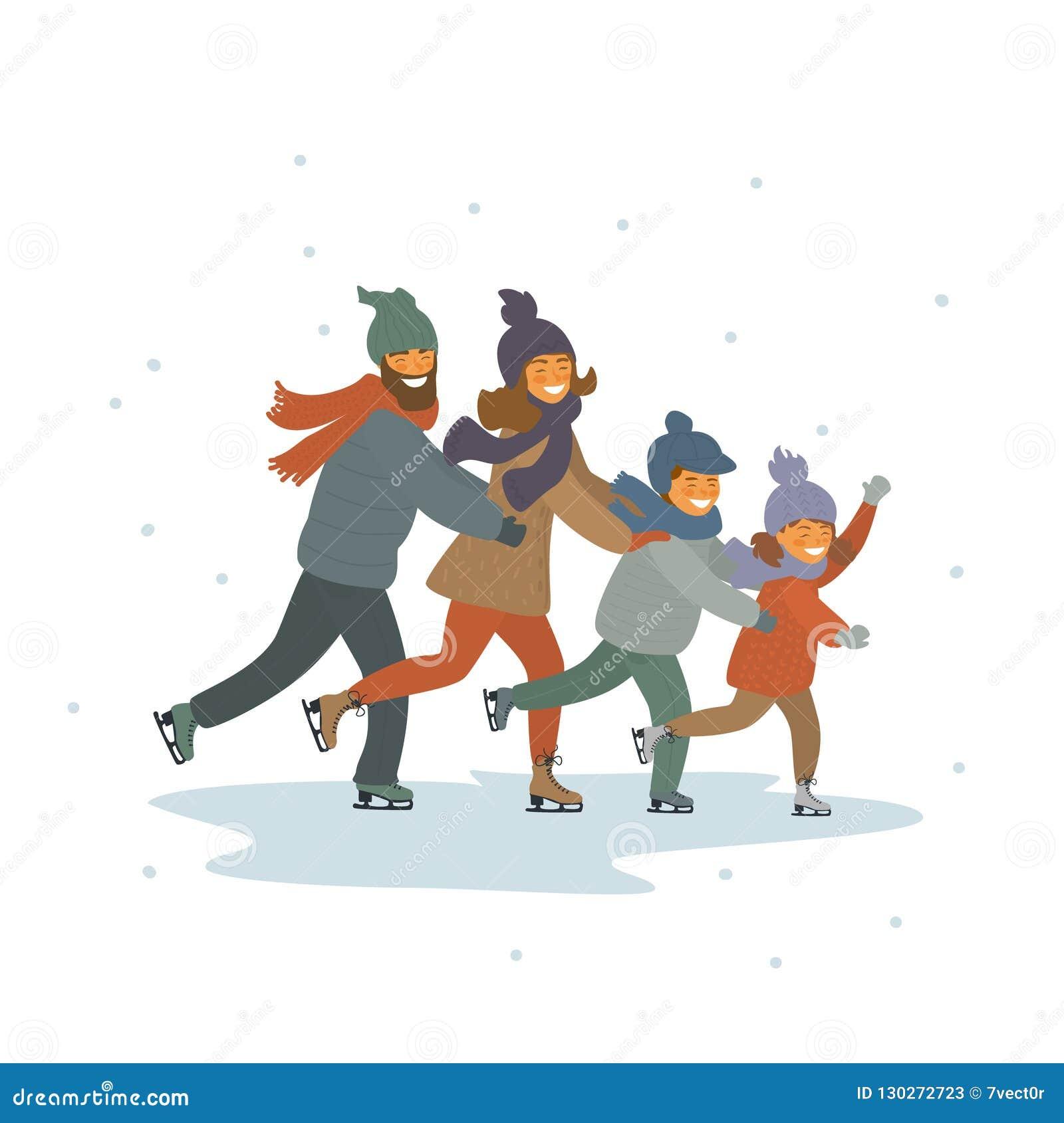 A família, as crianças e os pais dos desenhos animados congelam a patinagem artística junto na cena isolada da ilustração do veto