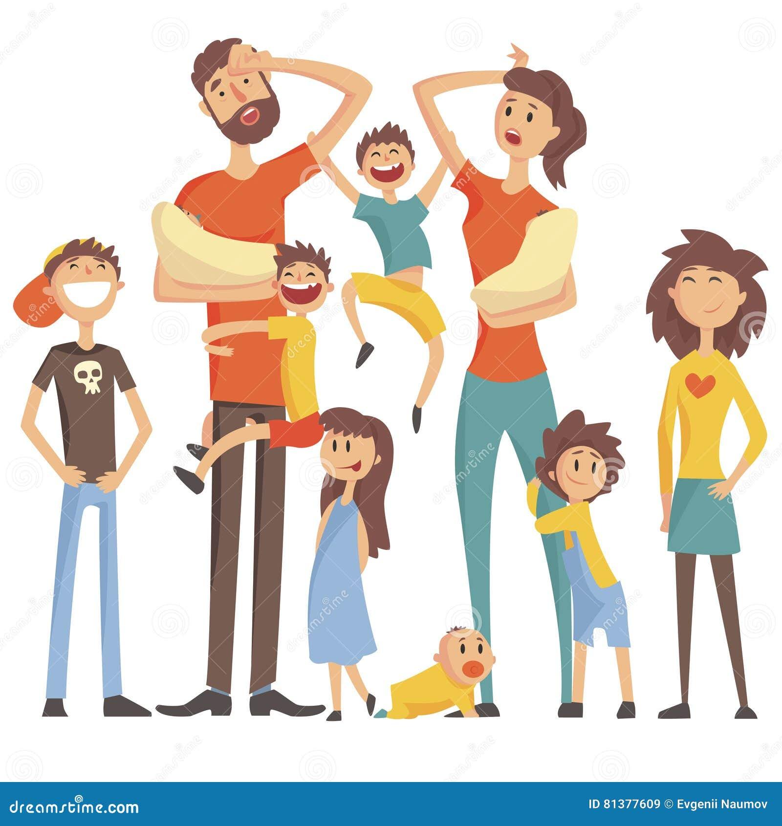 Família caucasiano feliz com o retrato de muitas crianças com toda a ilustração colorida das crianças e dos bebês e dos pais cans