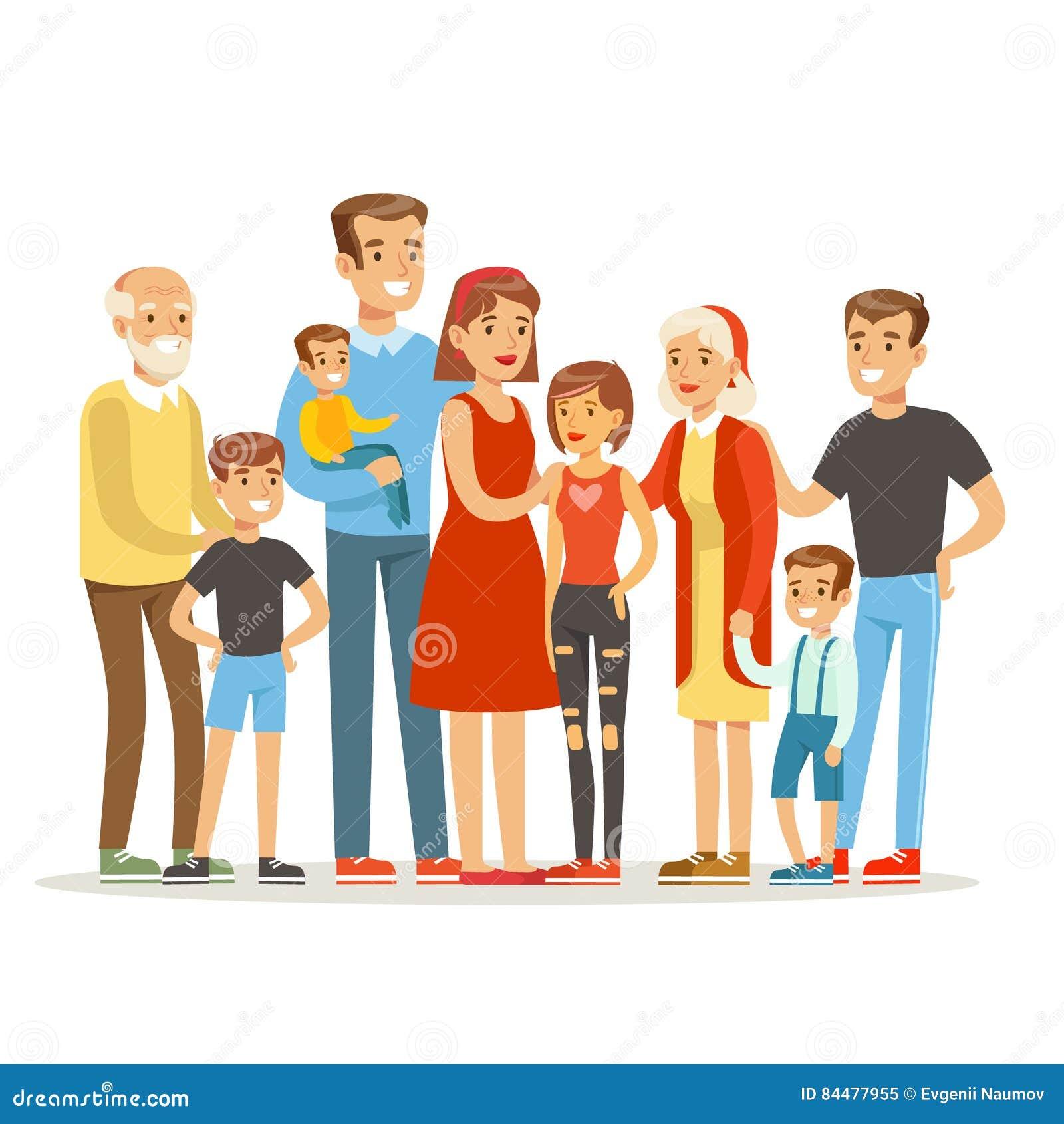 Família caucasiano grande feliz com o retrato de muitas crianças com todas as crianças e bebês e pais cansados coloridos