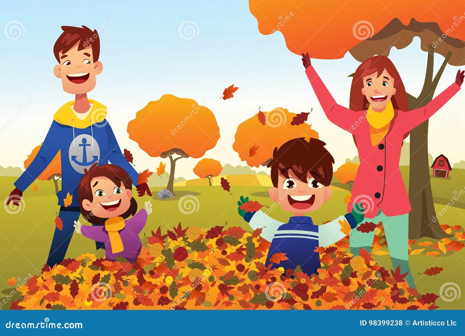 A família comemora Autumn Season Outdoors