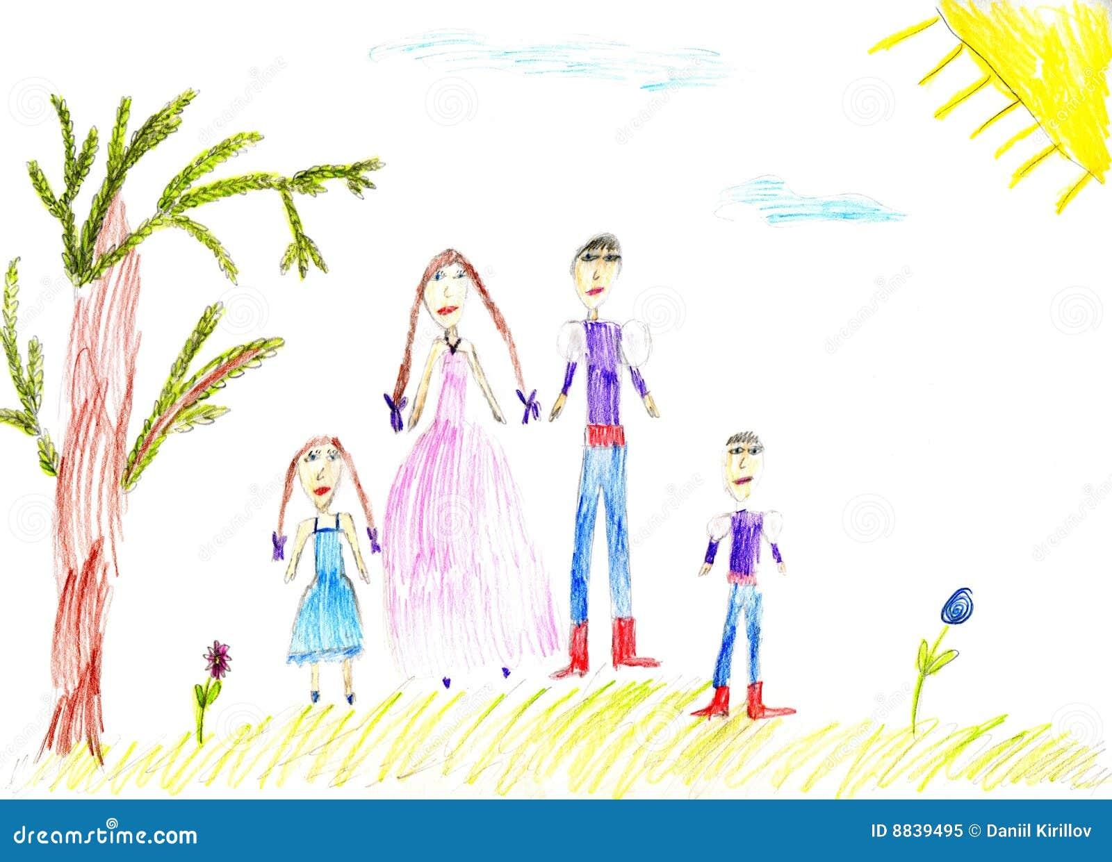 Família da pintura das crianças na natureza do verão