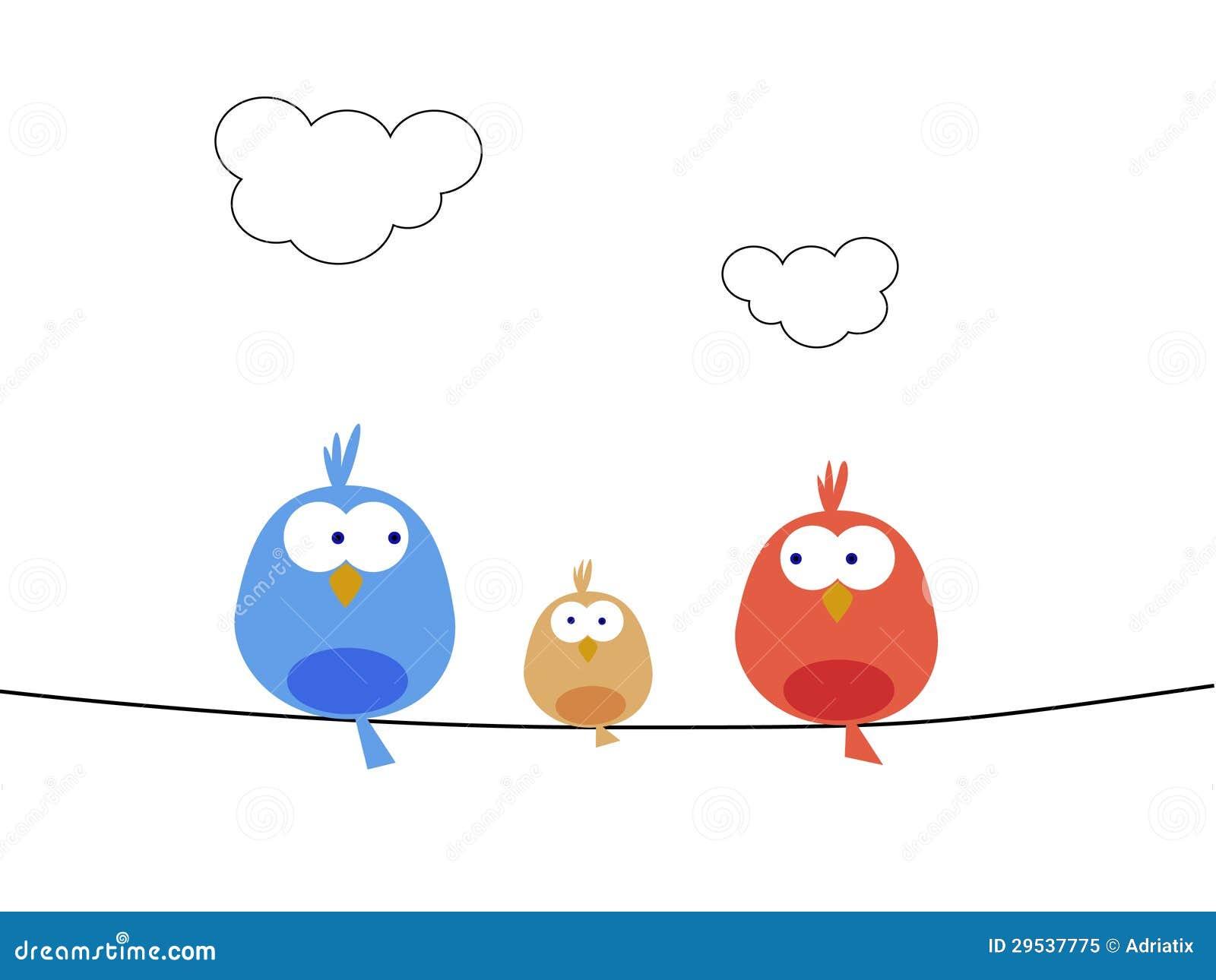 Família de pássaro nova
