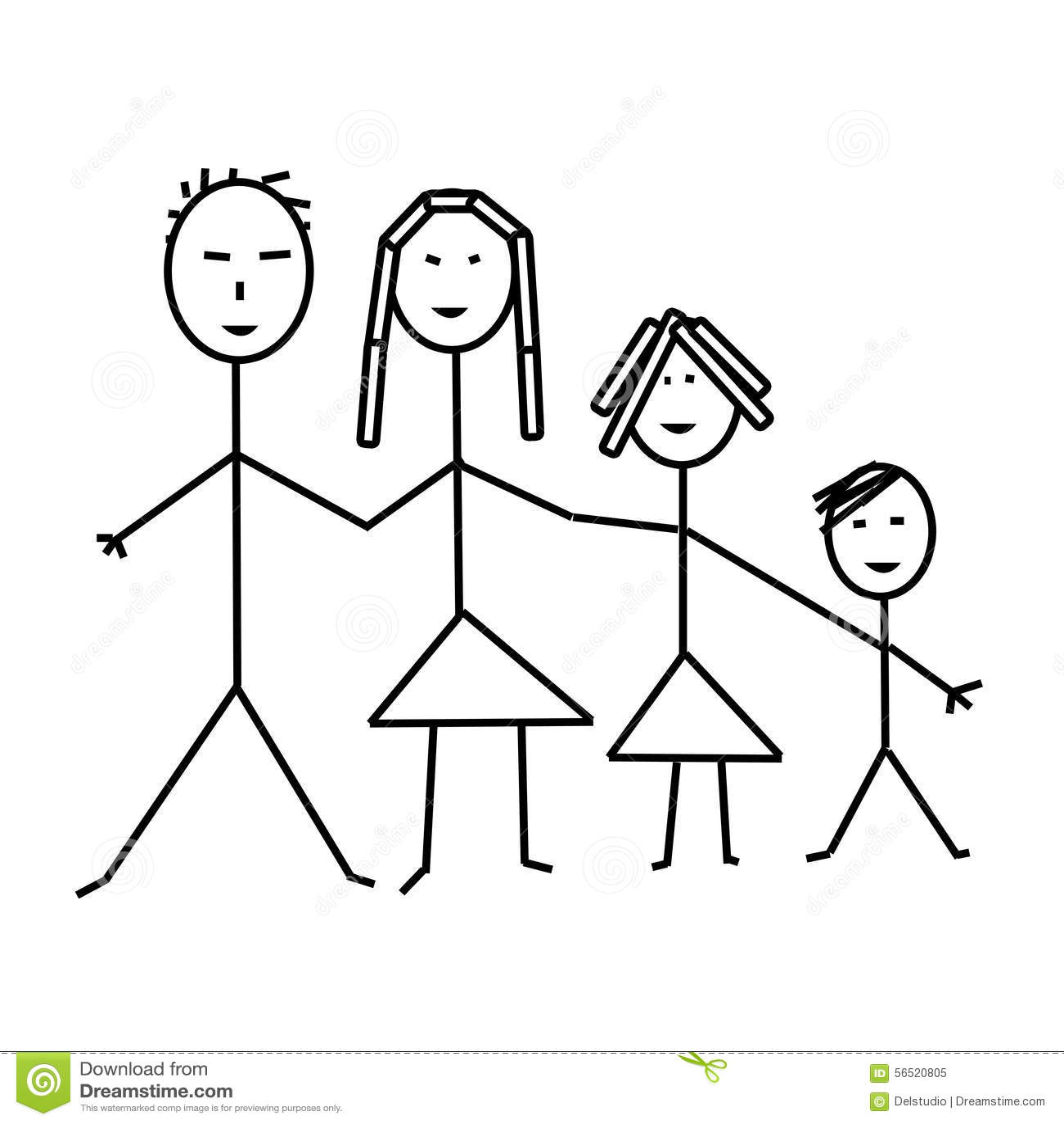 Família De Quatro Pessoas Clássica Desenho Da Criança
