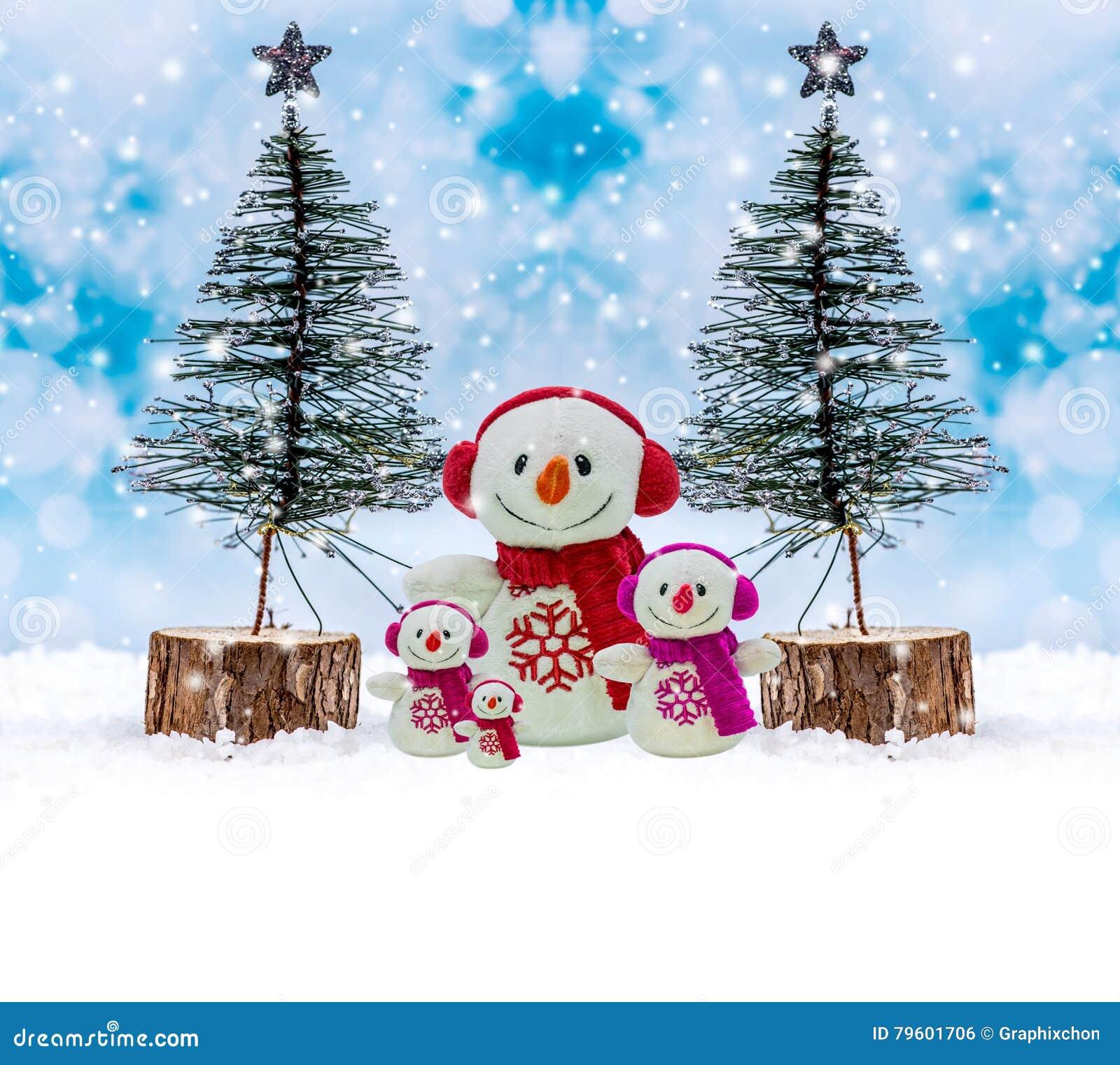 Família do boneco de neve, dia do Feliz Natal
