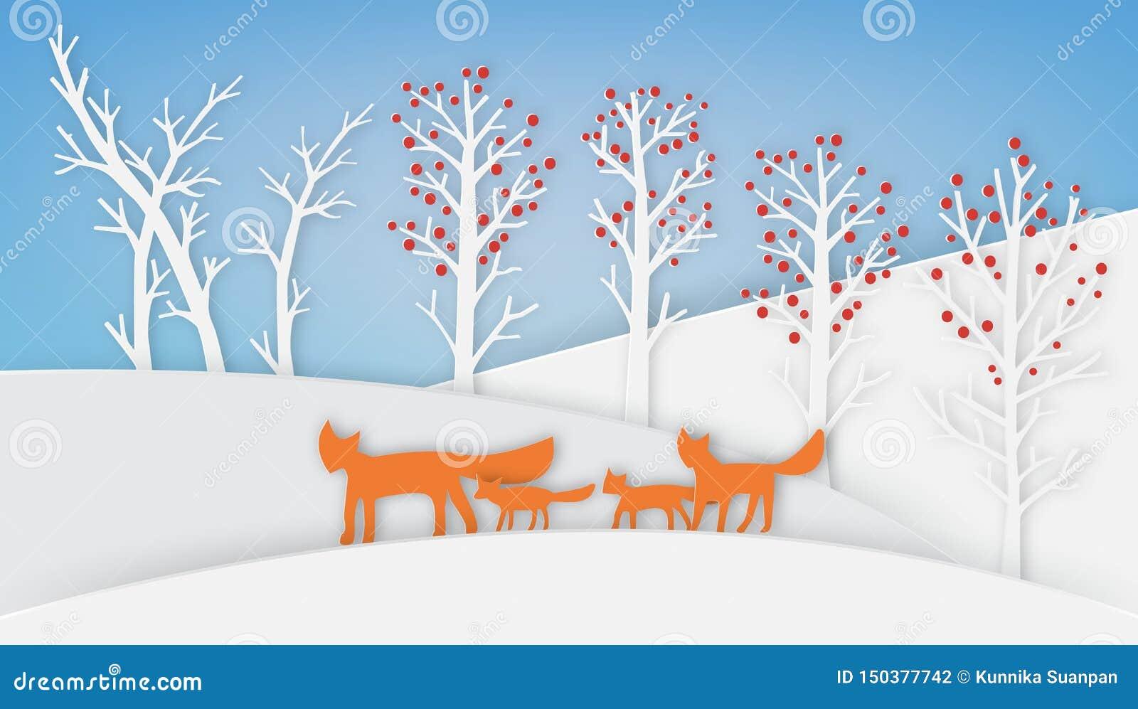 A família do Fox está andando com neve e árvore