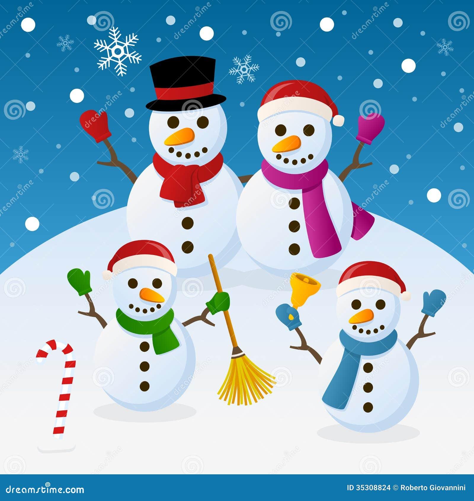 Família Dos Bonecos De Neve Do Natal Ilustração Do Vetor