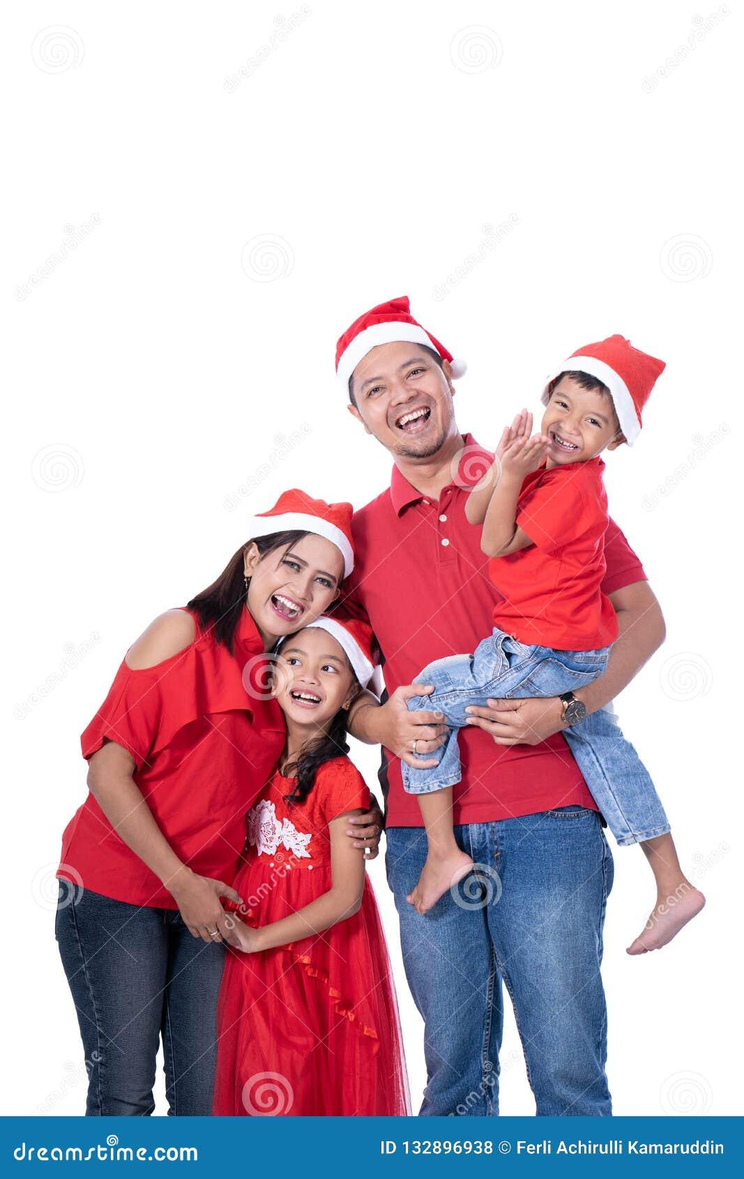 Família e retrato das crianças Tema do Natal