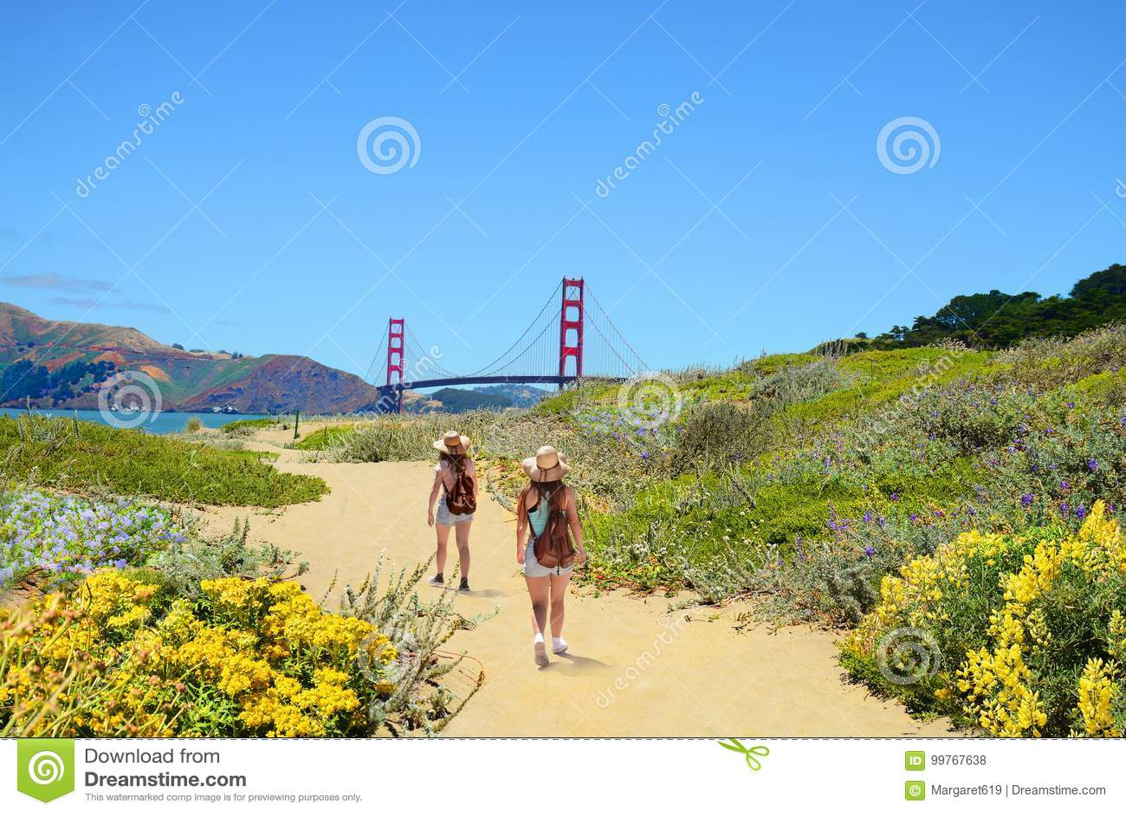Família em uma viagem de caminhada que aprecia a paisagem litoral bonita