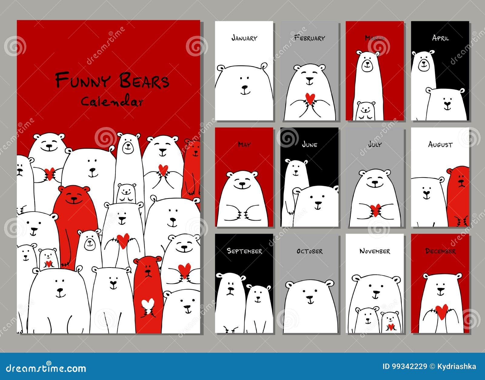 Família engraçada dos ursos brancos Calendário 2018 do projeto