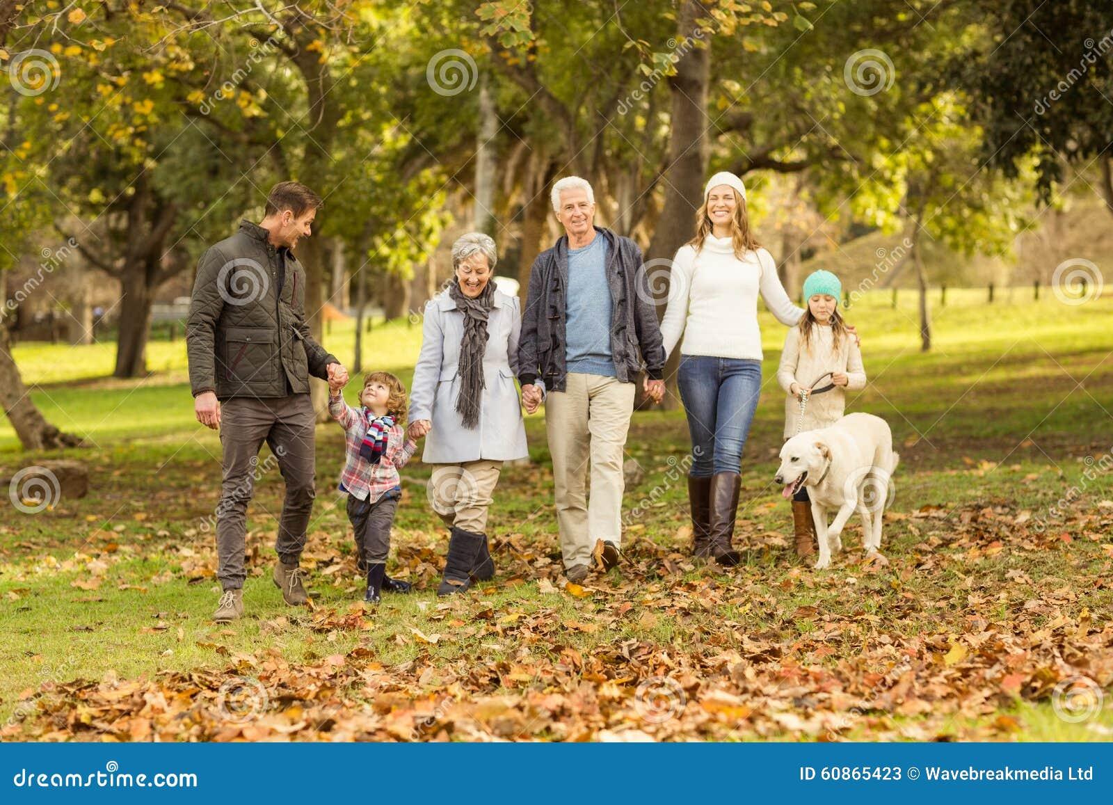 Família extensa de sorriso que anda junto