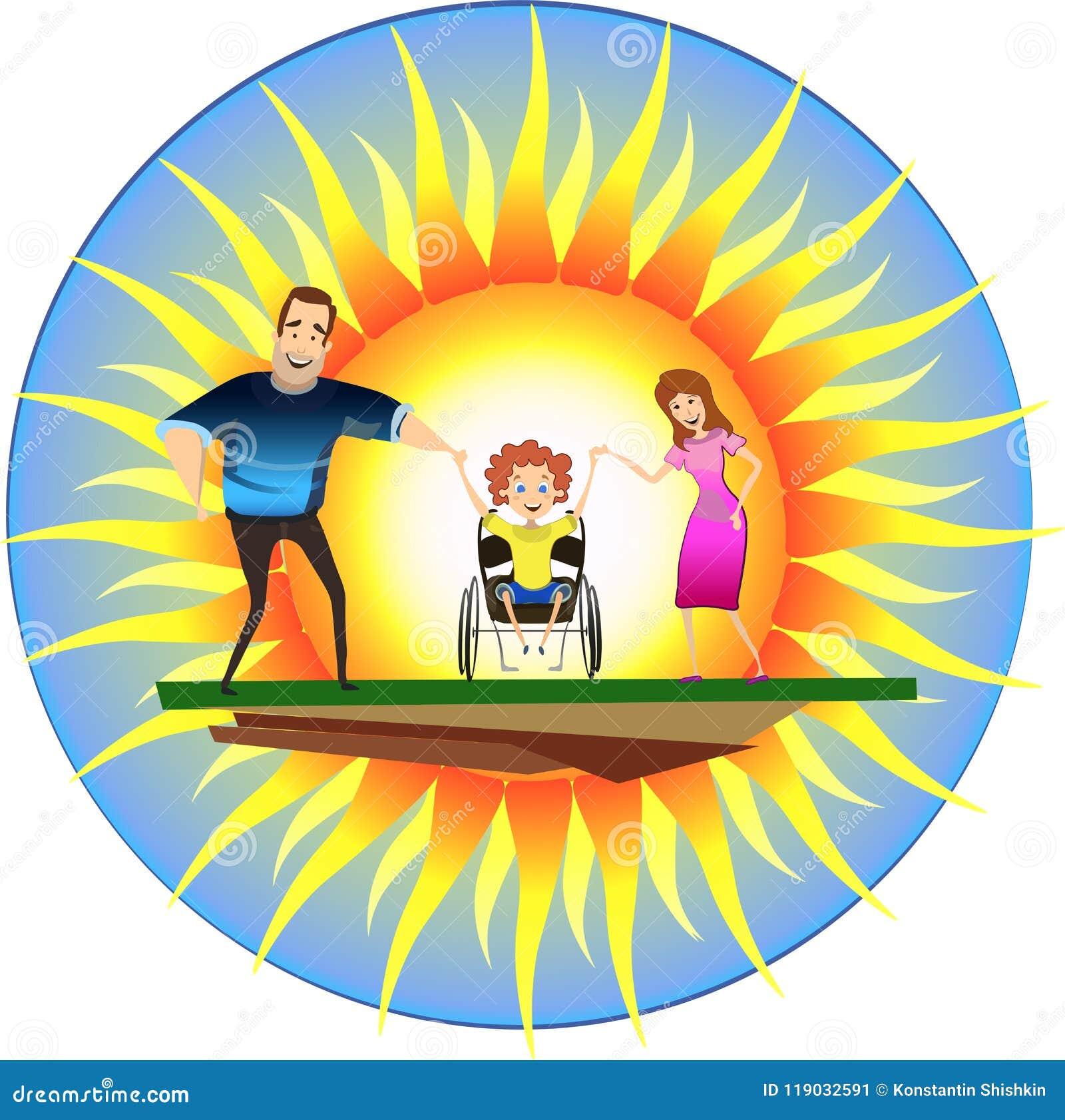 Família feliz com a criança deficiente em cadeiras de rodas na frente do sol