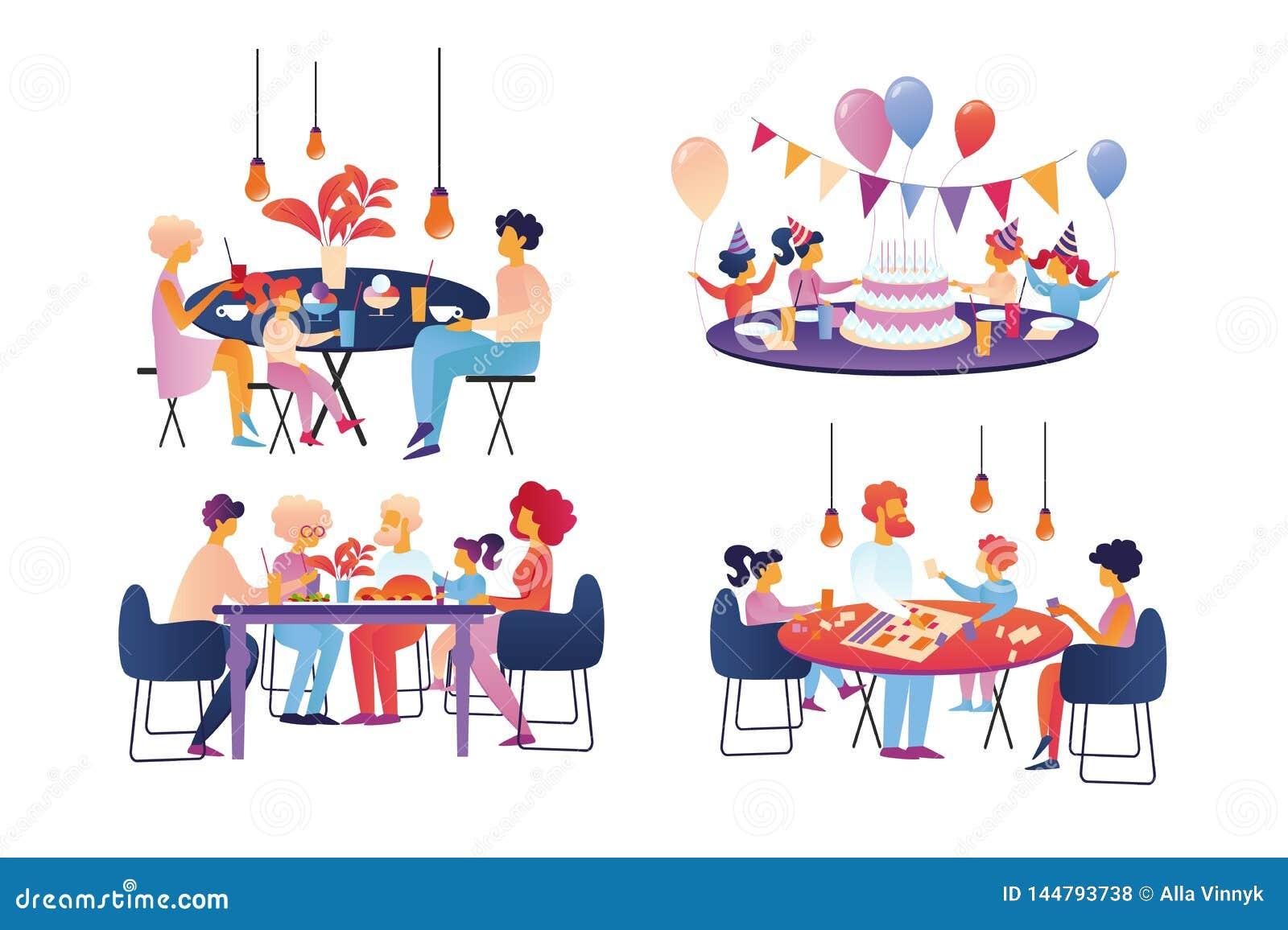 A família feliz comemoram e o grupo do Sparetime isolado