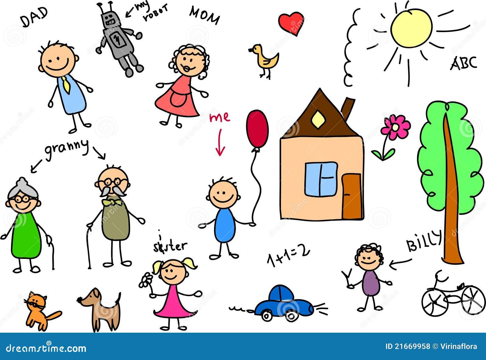 Feliz Personas Exitosas En Caricaturas: Família Feliz, Desenho Das Crianças, Vetor Ilustração