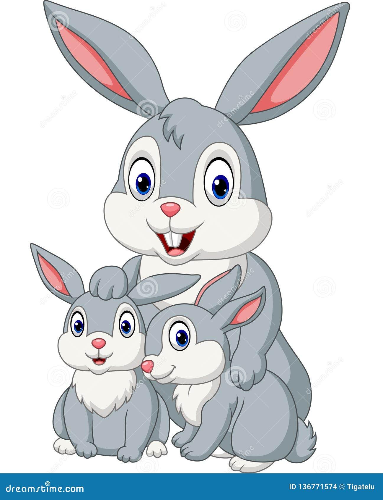Família feliz dos coelhos