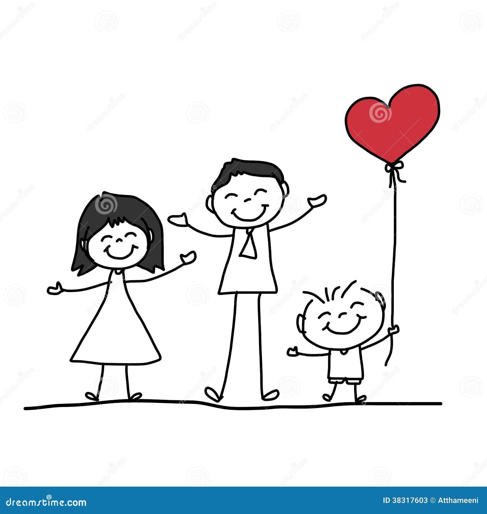 Família Feliz Dos Desenhos Animados Do Desenho Da Mão Ilustração