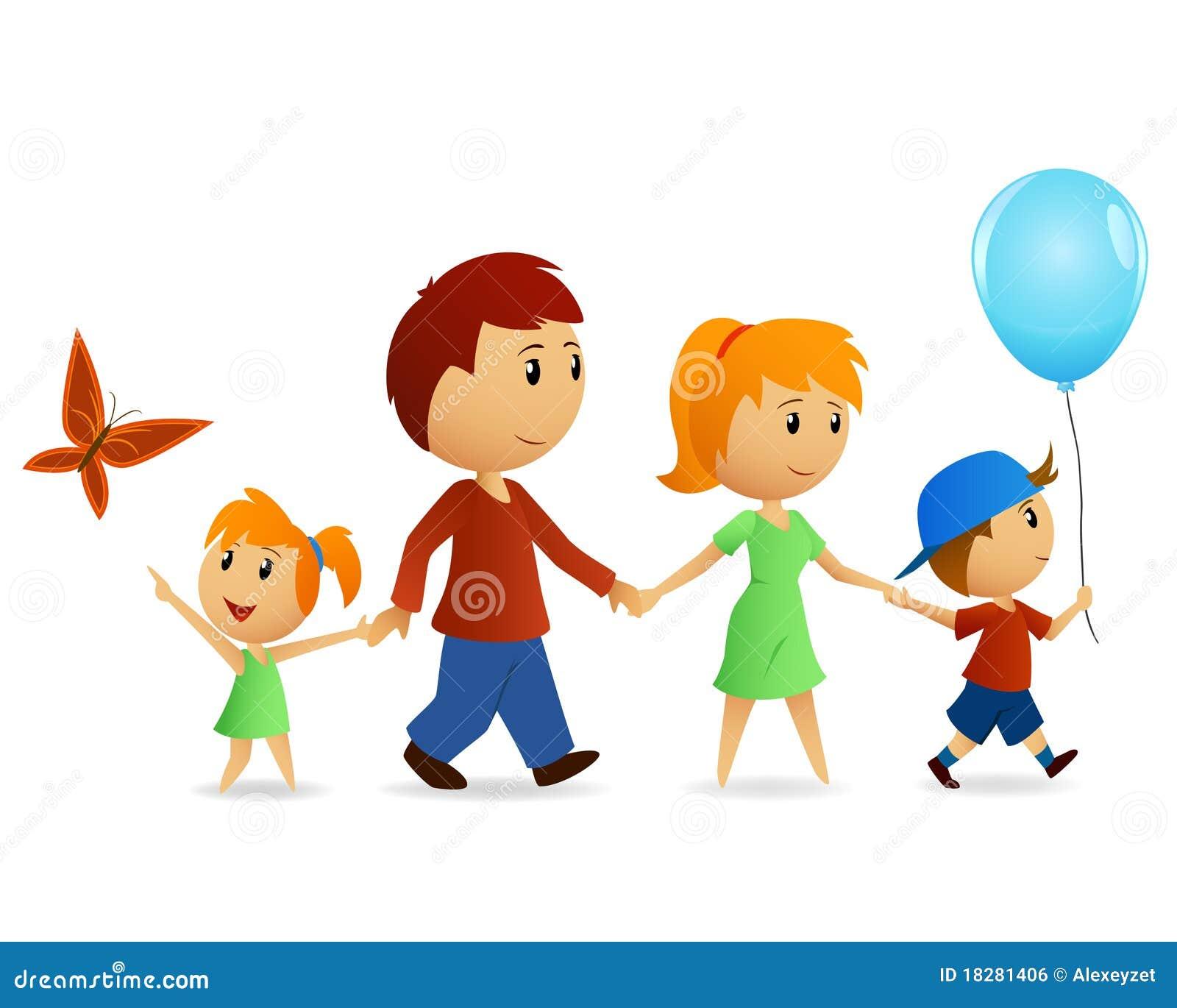 Família Feliz Dos Desenhos Animados Na Caminhada Ilustração Do Vetor