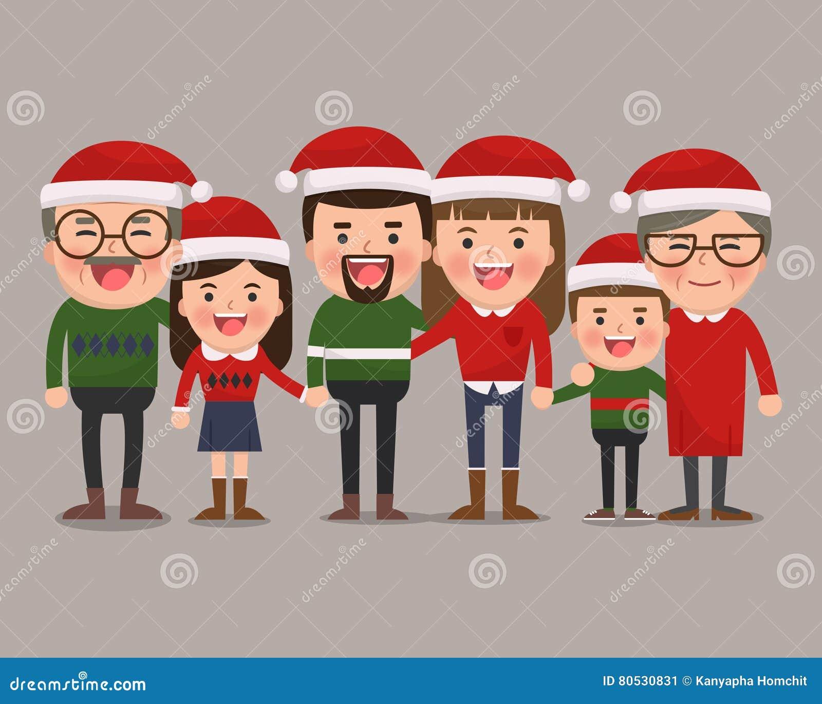 Família feliz em chapéus do Natal