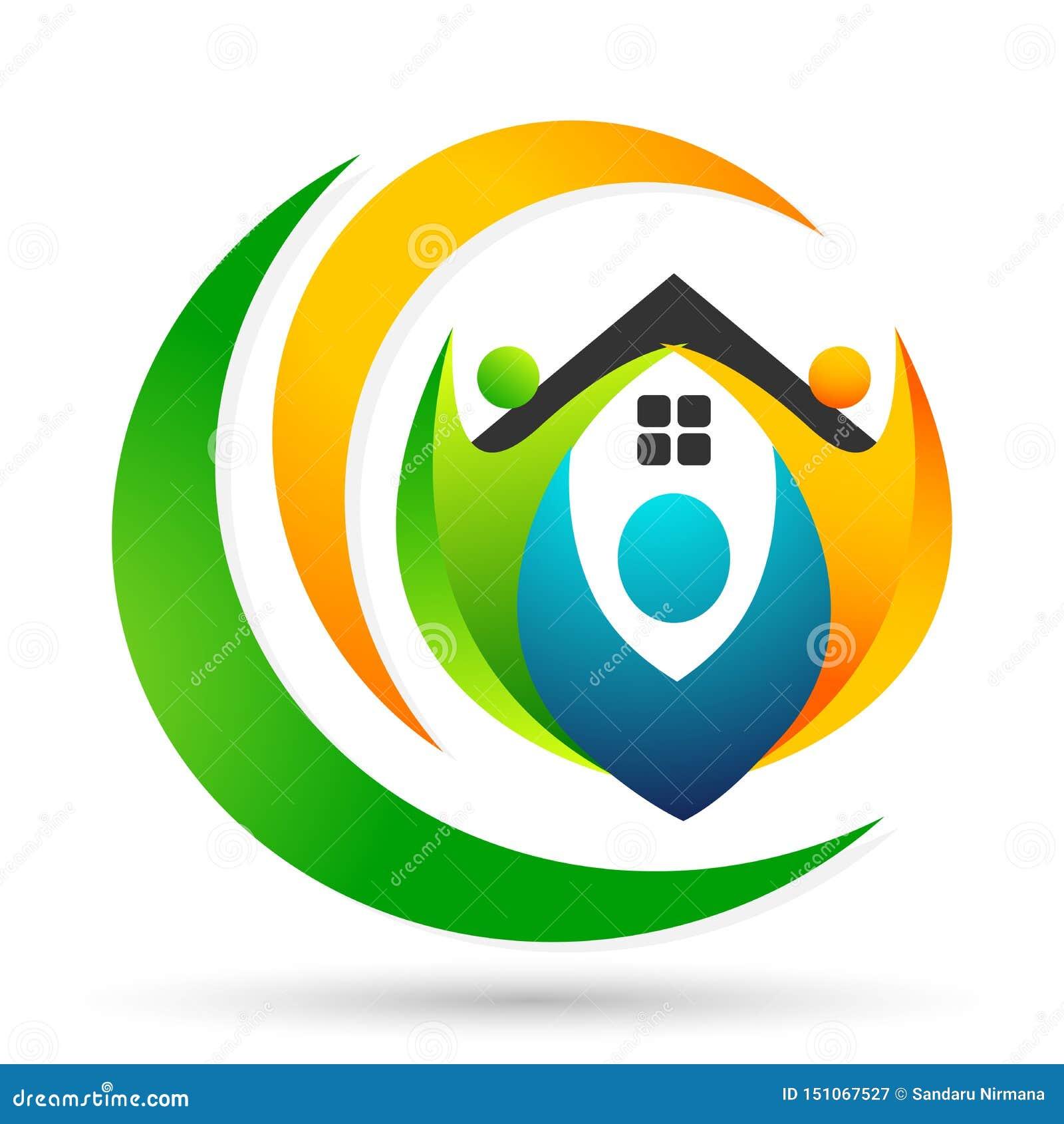 Família feliz no logotipo da união da casa, família, pai, crianças, amor verde, parenting, cuidado, vetor do projeto do ícone do