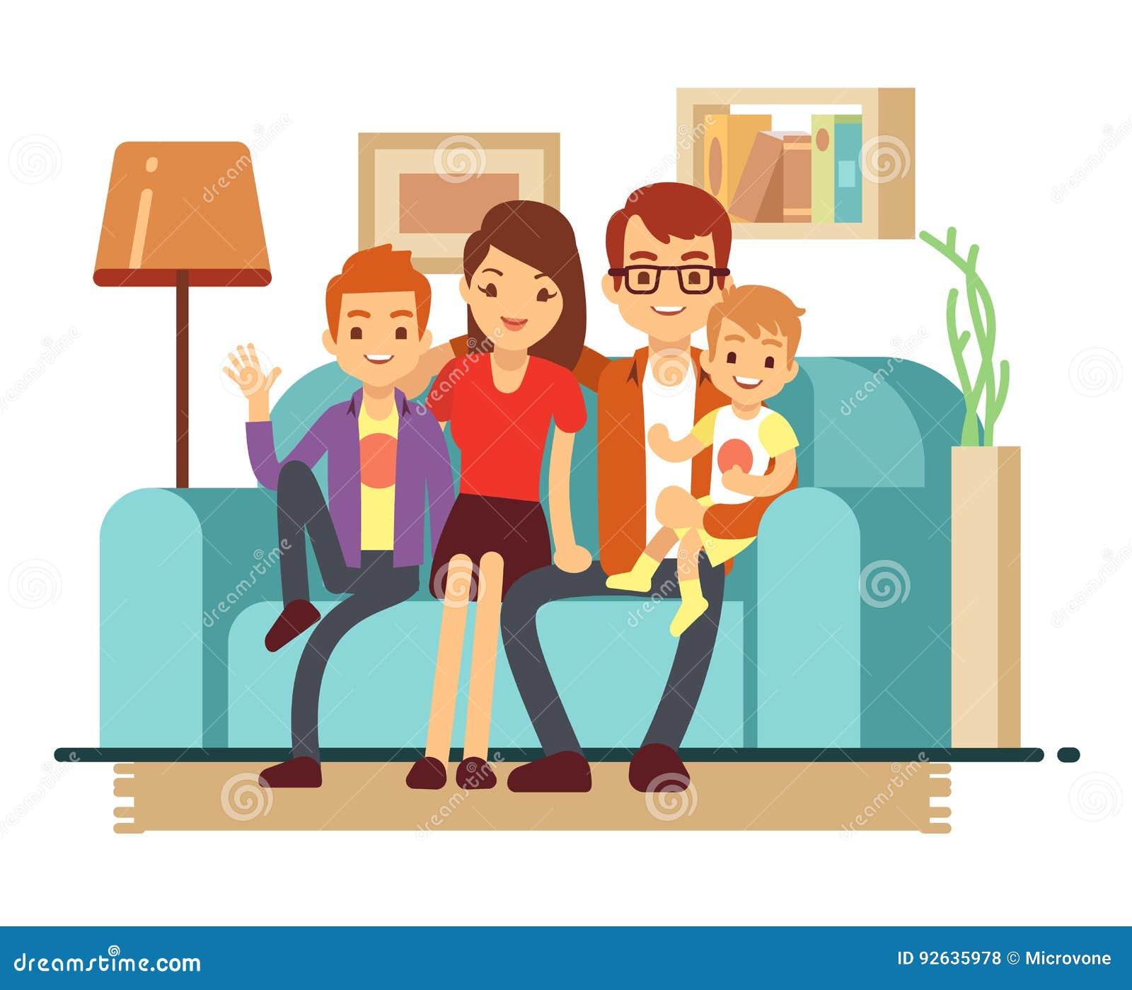 Família feliz nova de sorriso no sofá O homem, a mulher e suas crianças na sala de visitas vector a ilustração