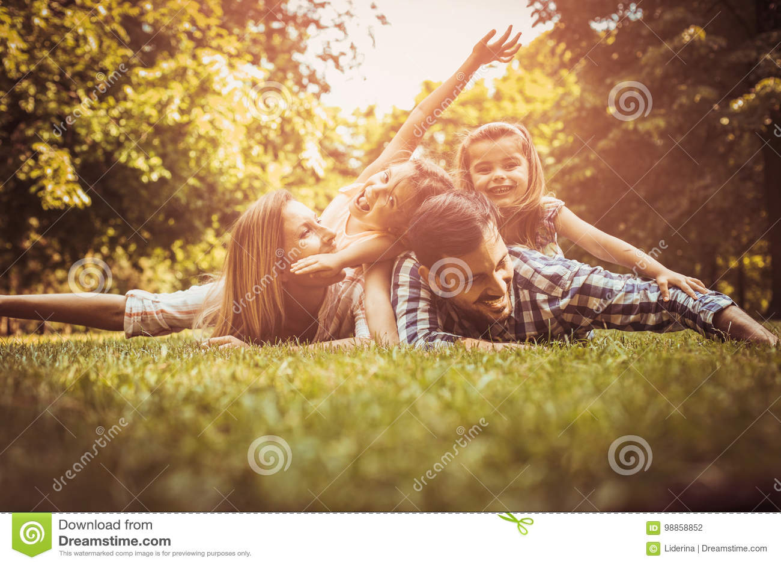 Família feliz que aprecia junto no dia de verão