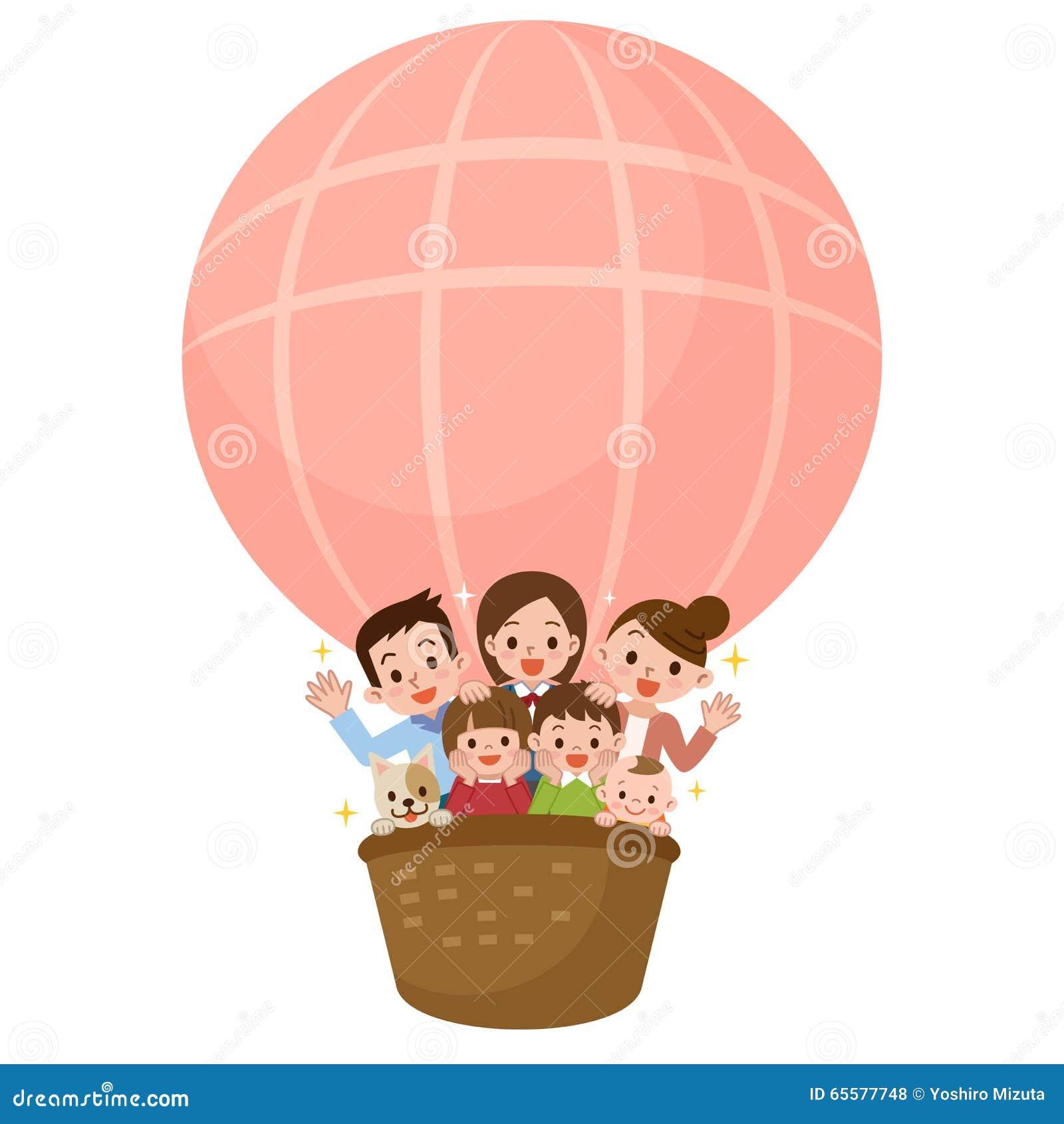 Família feliz que monta um balão
