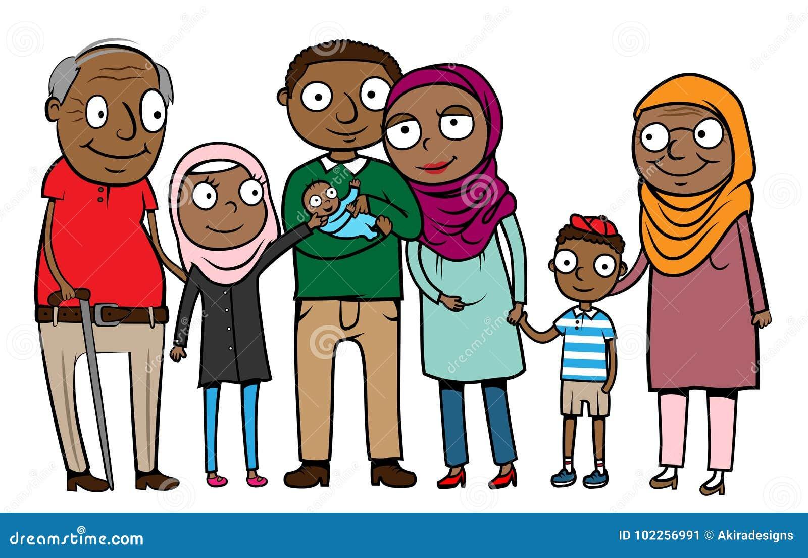 Familia Imigrante Muculmana Dos Desenhos Animados Ilustracao Do