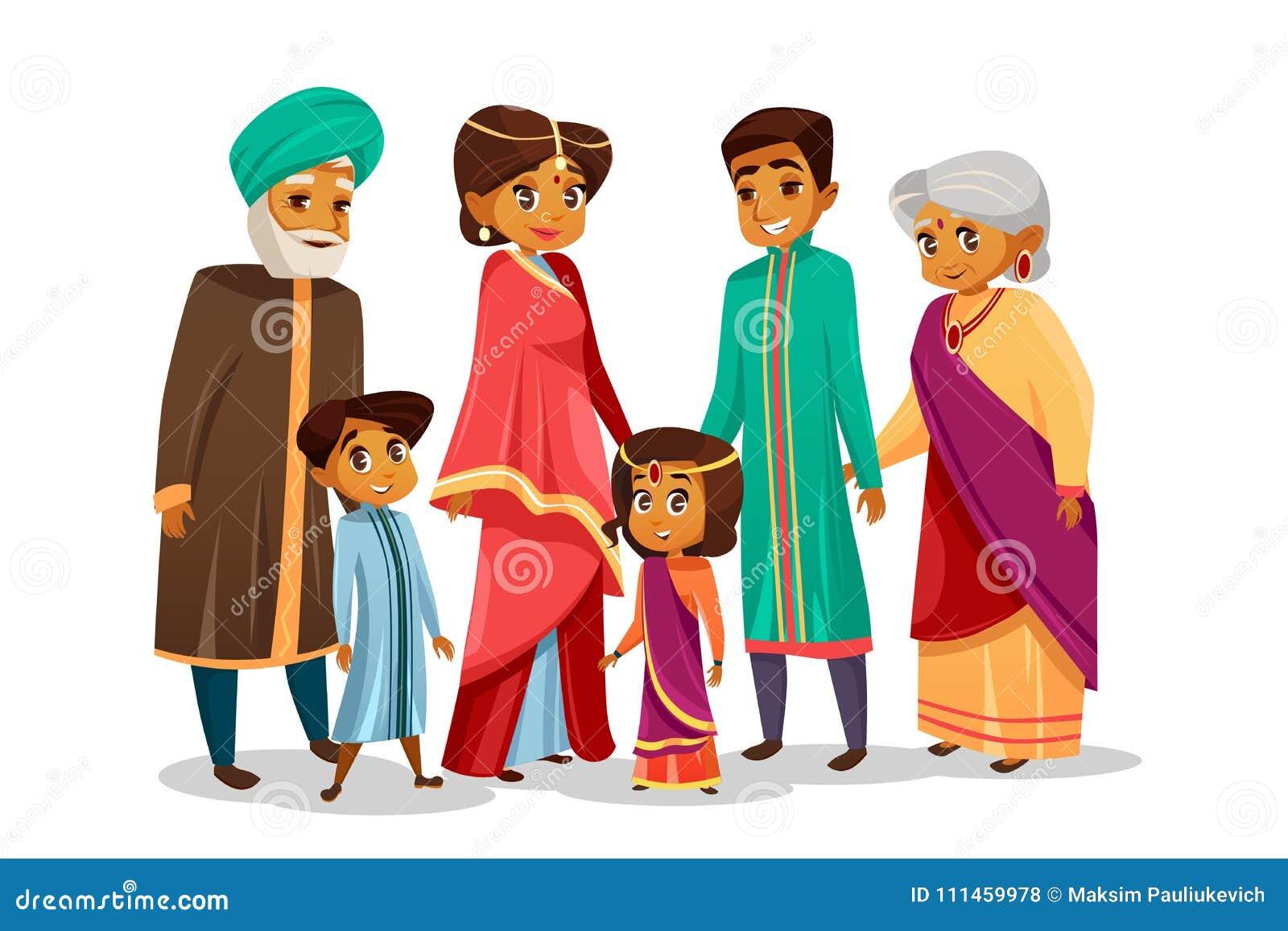 Família indiana dos desenhos animados do vetor no traje nacional