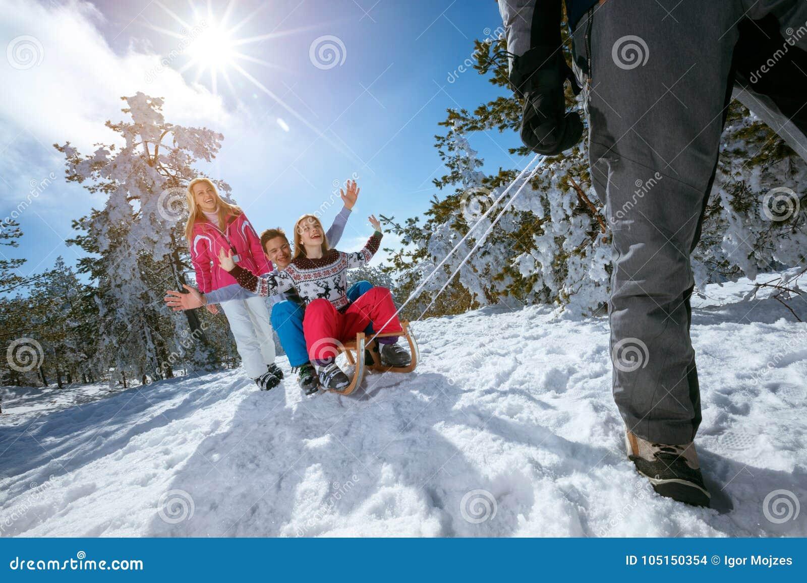 A família na neve tem o divertimento que sledding no dia de inverno ensolarado