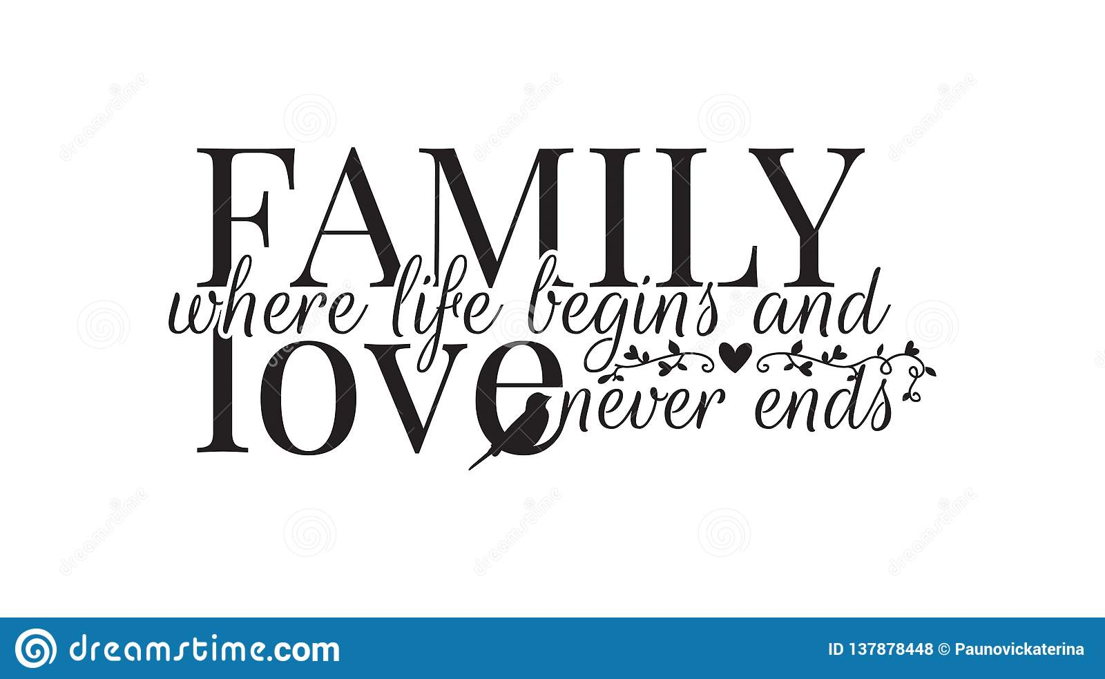A família onde a vida começa, e ama nunca extremidades, decalques da parede, exprimindo o projeto