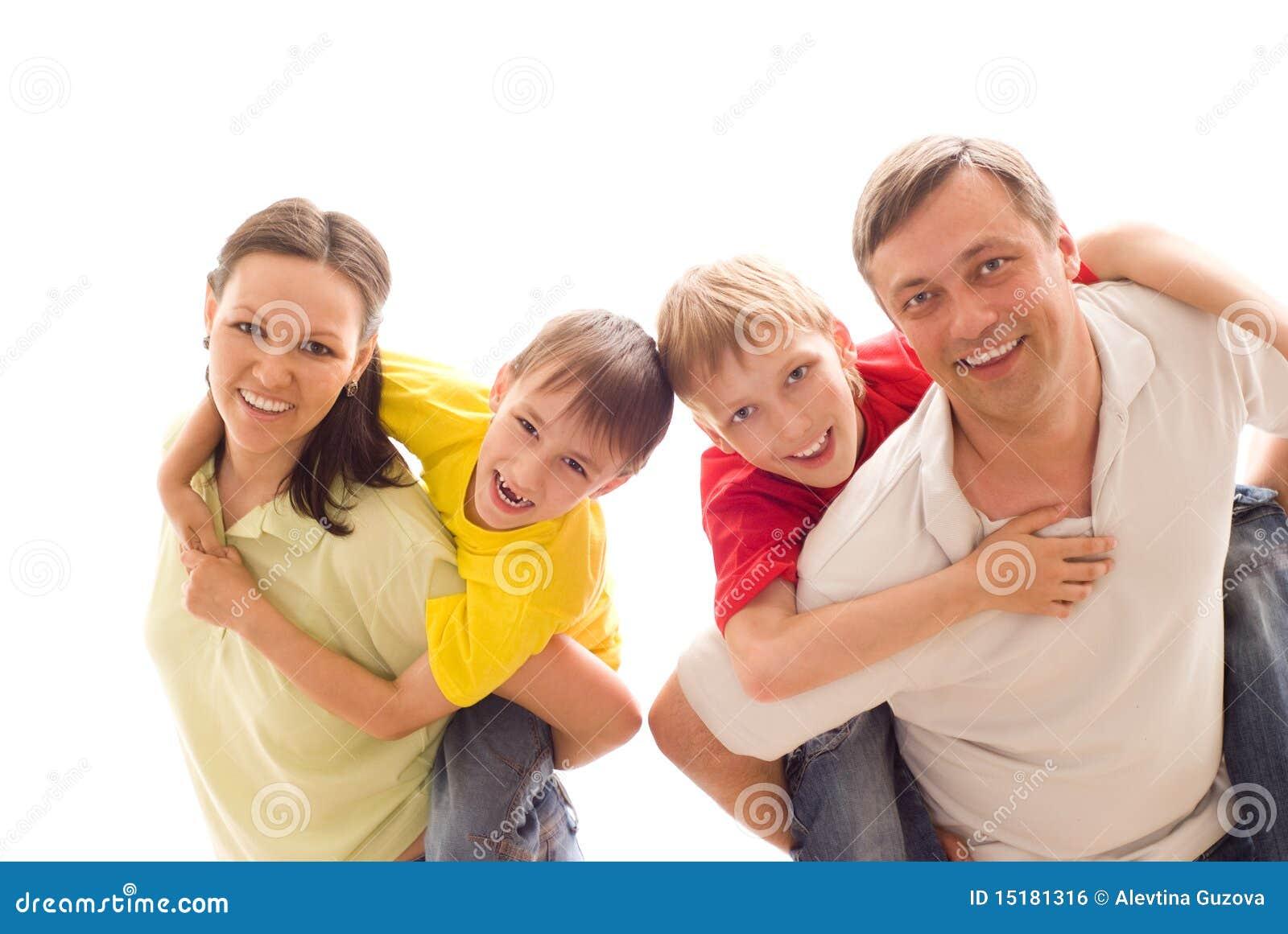 Família quatro em uma luz