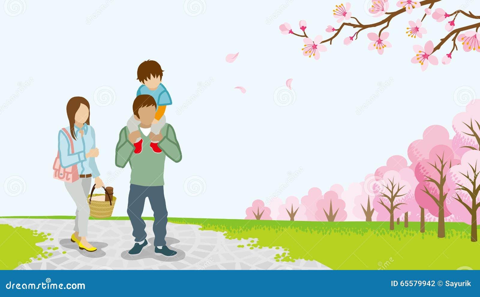 Família que anda entre árvores de cereja da flor completa - reboque - EPS10