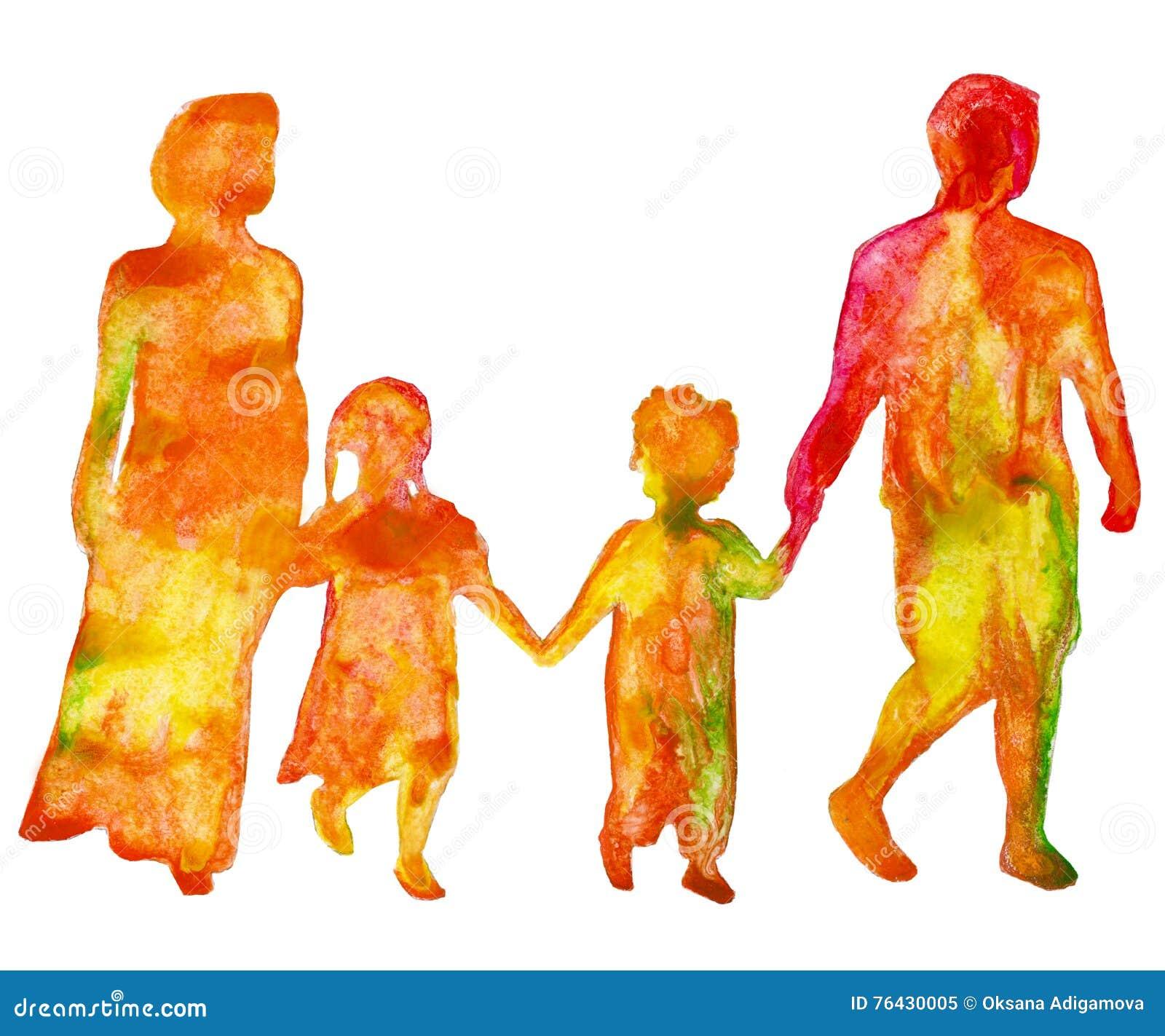 Família Silhueta colorida dos povos Isolado em um fundo branco Ilustração da aguarela