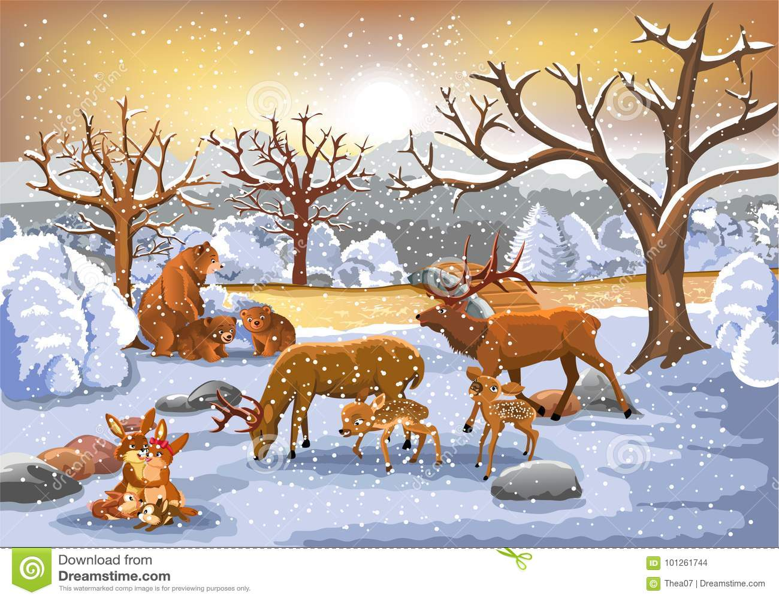 Famílias dos animais que apreciam o tempo de inverno