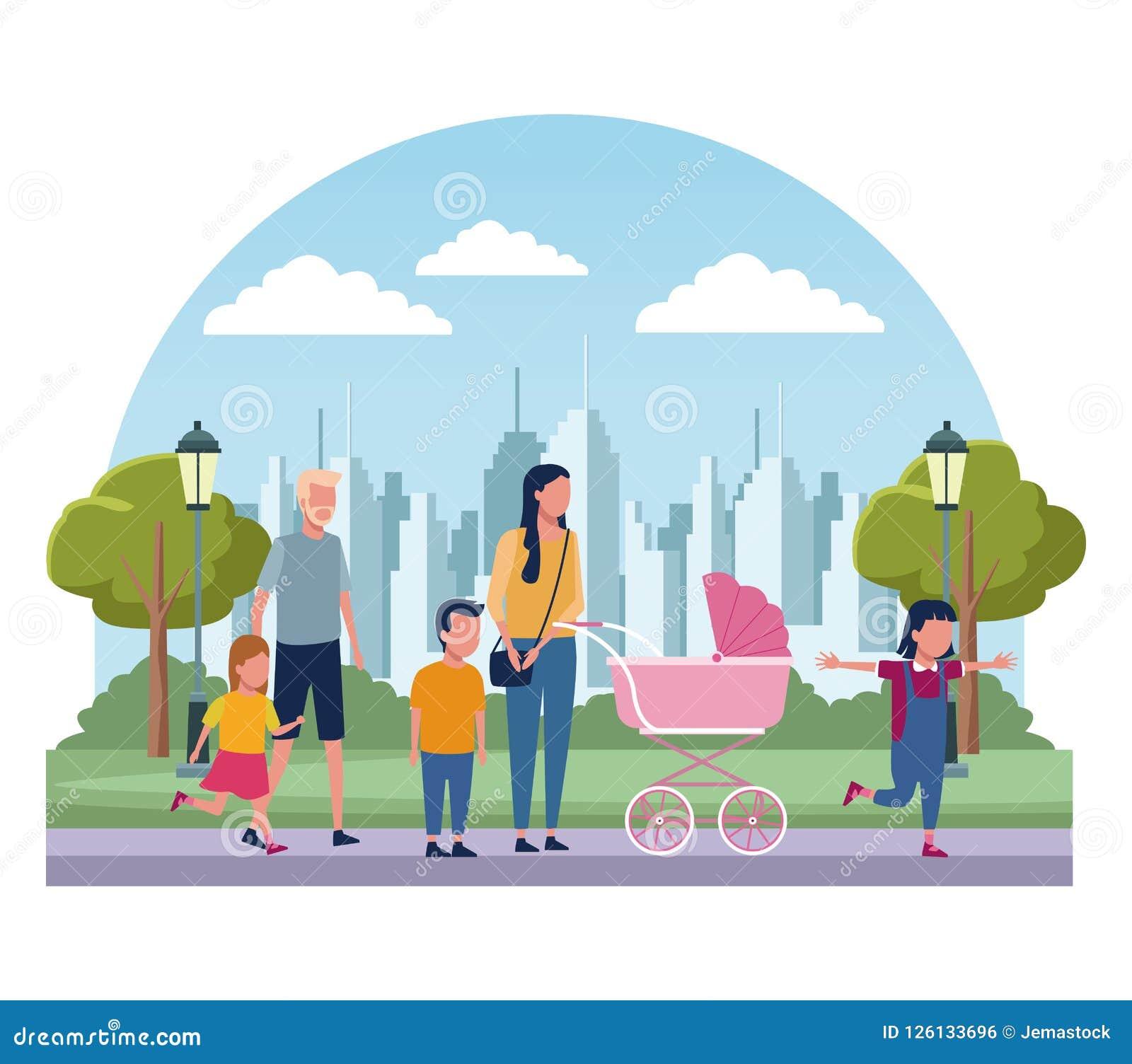 Famílias no parque