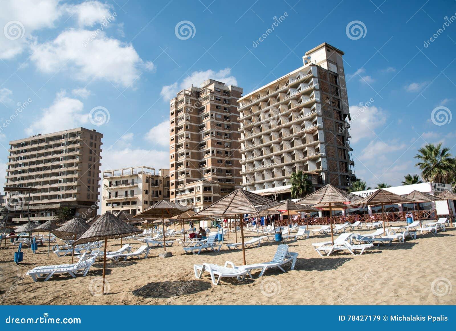 Karta Famagusta Cypern.Famagusta Strand Och Overgav Hotell Cypern Redaktionell