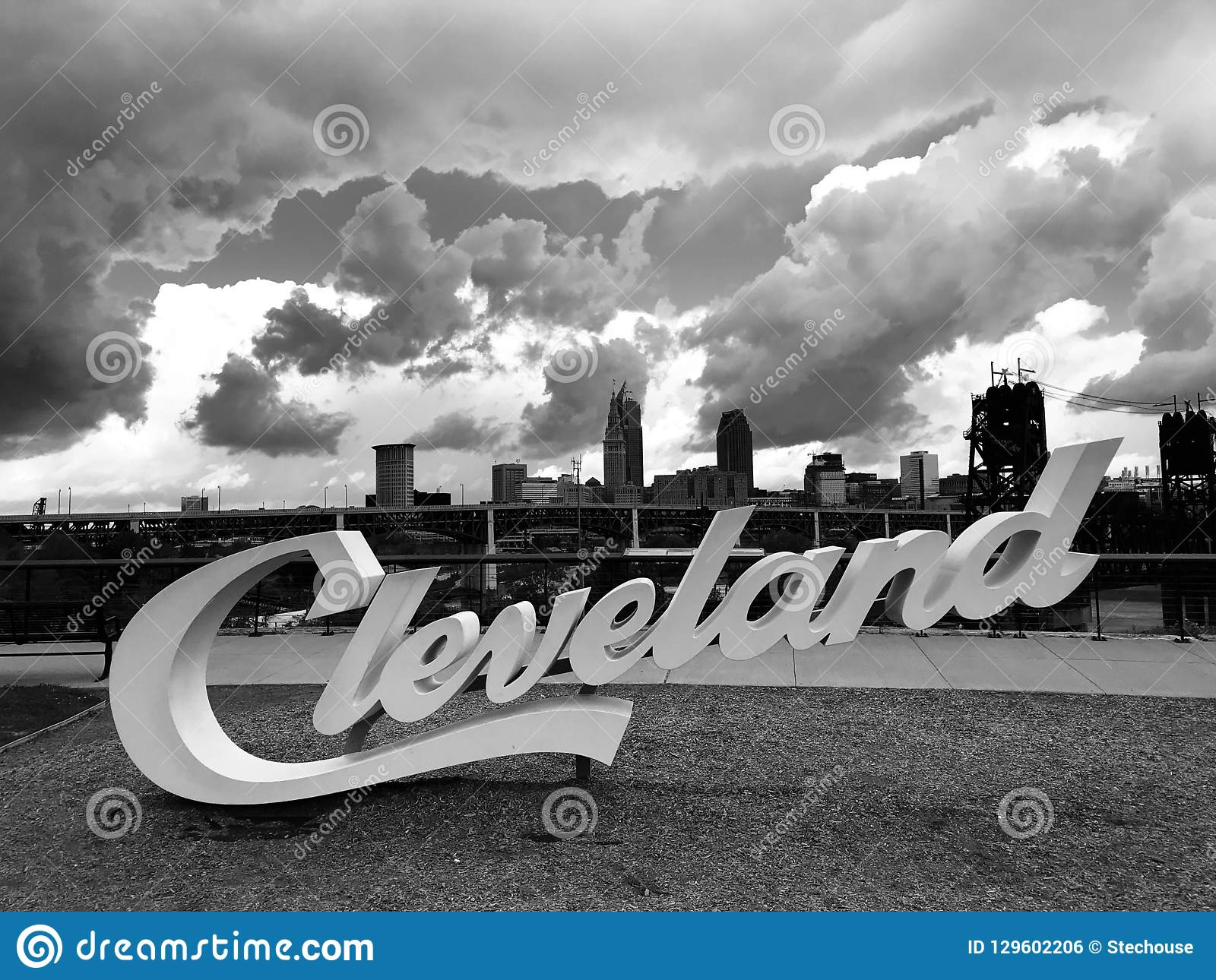 The famed CLEVELAND sign over the Flats looking onto the skyline - CLEVELAND - OHIO - USA