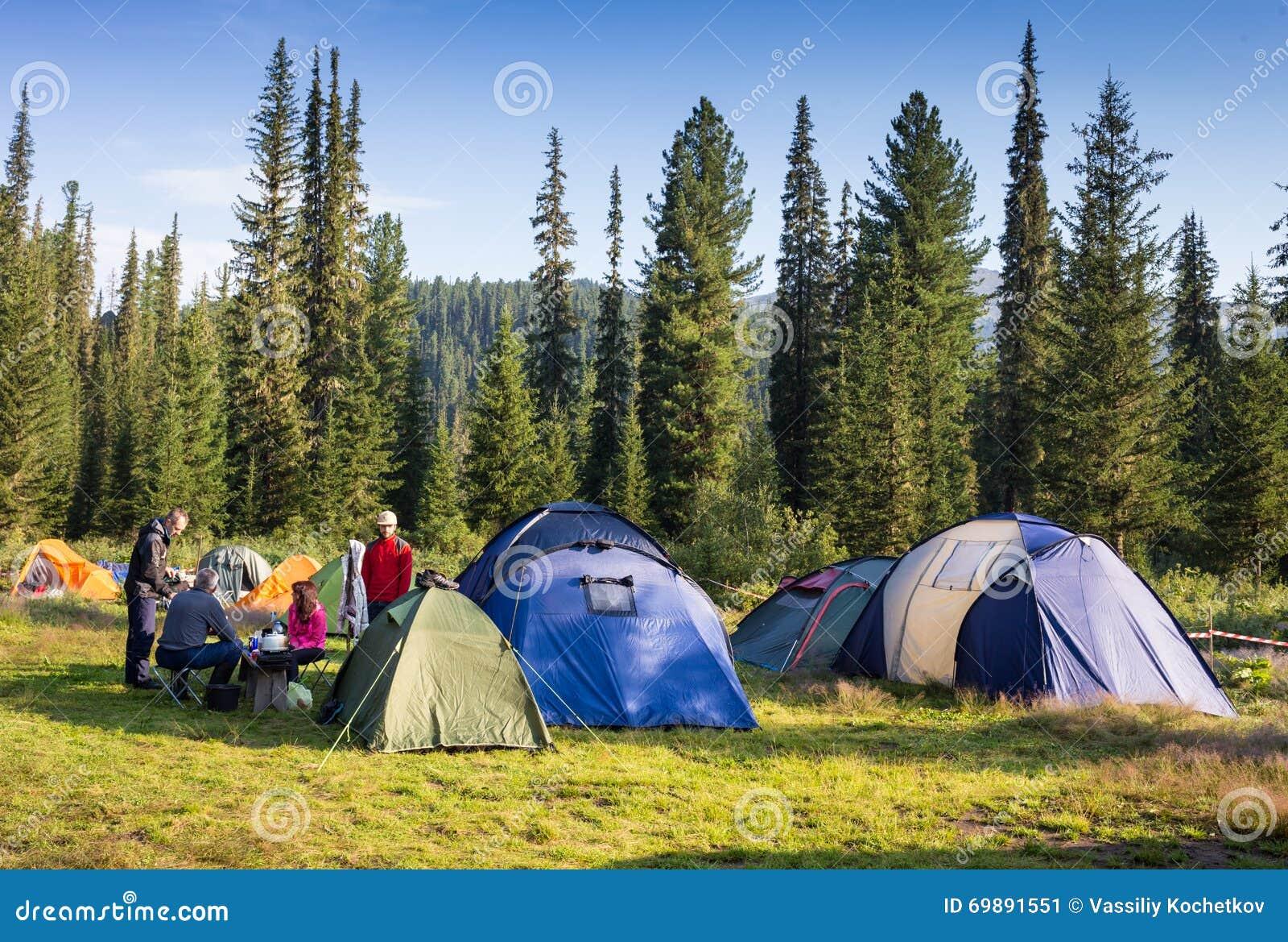 Famiglia che gode della vacanza in campeggio in campagna