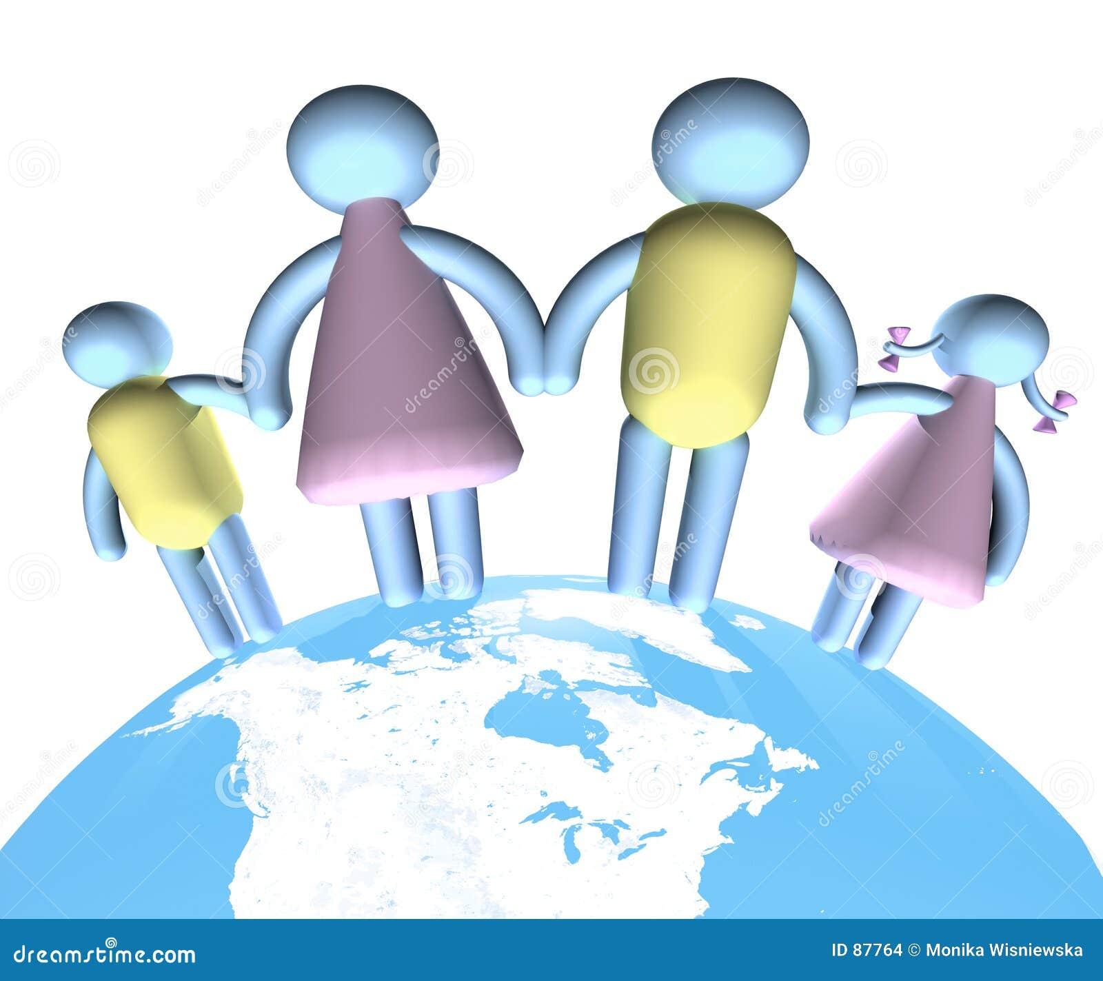 Famiglia che si leva in piedi su The Globe