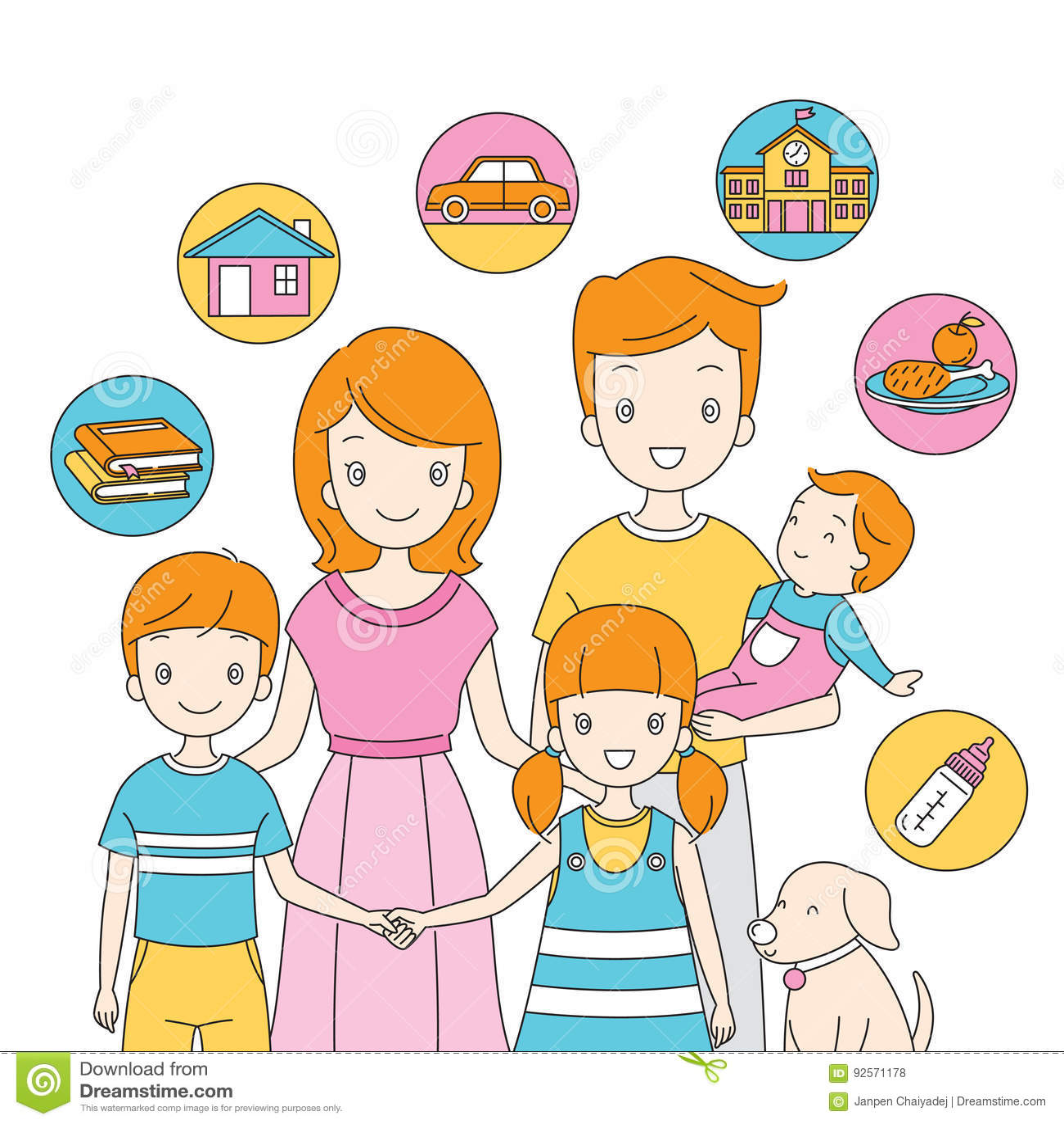 Famiglia che sta insieme alle icone