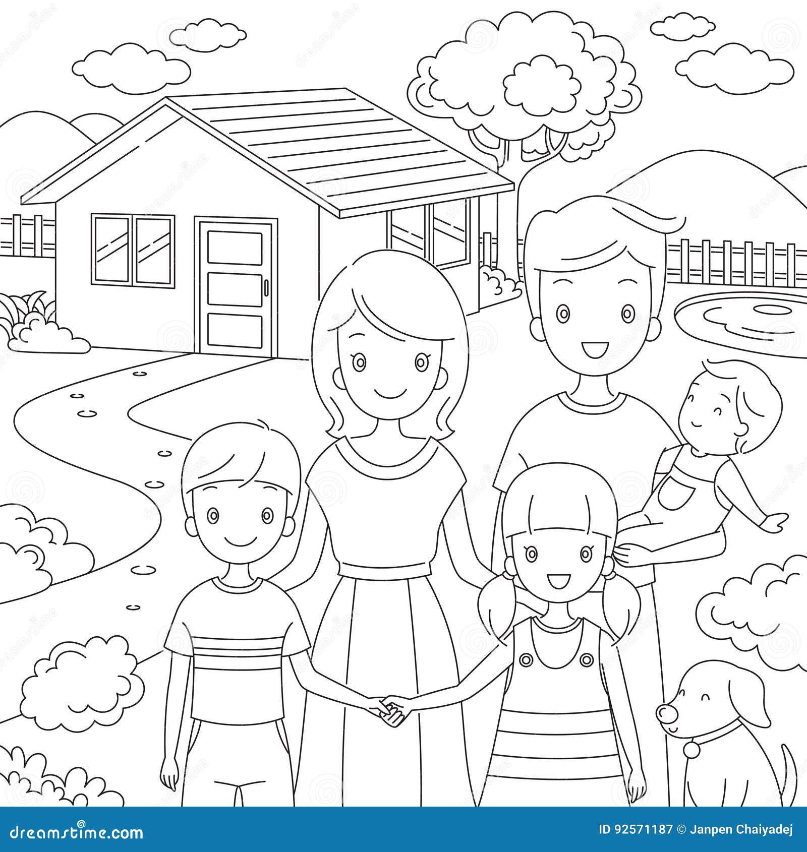 Famiglia che sta stile di Front Their Home In Doodle