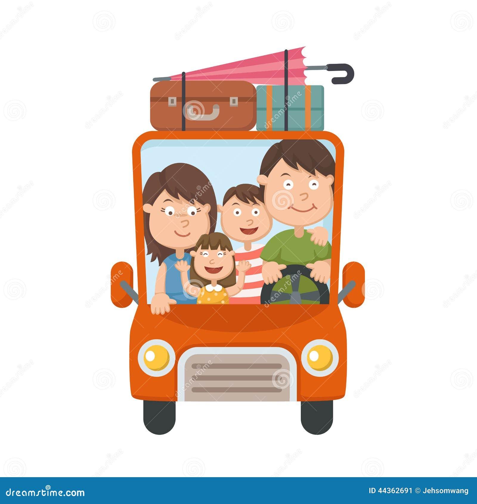Famiglia che viaggia in automobile