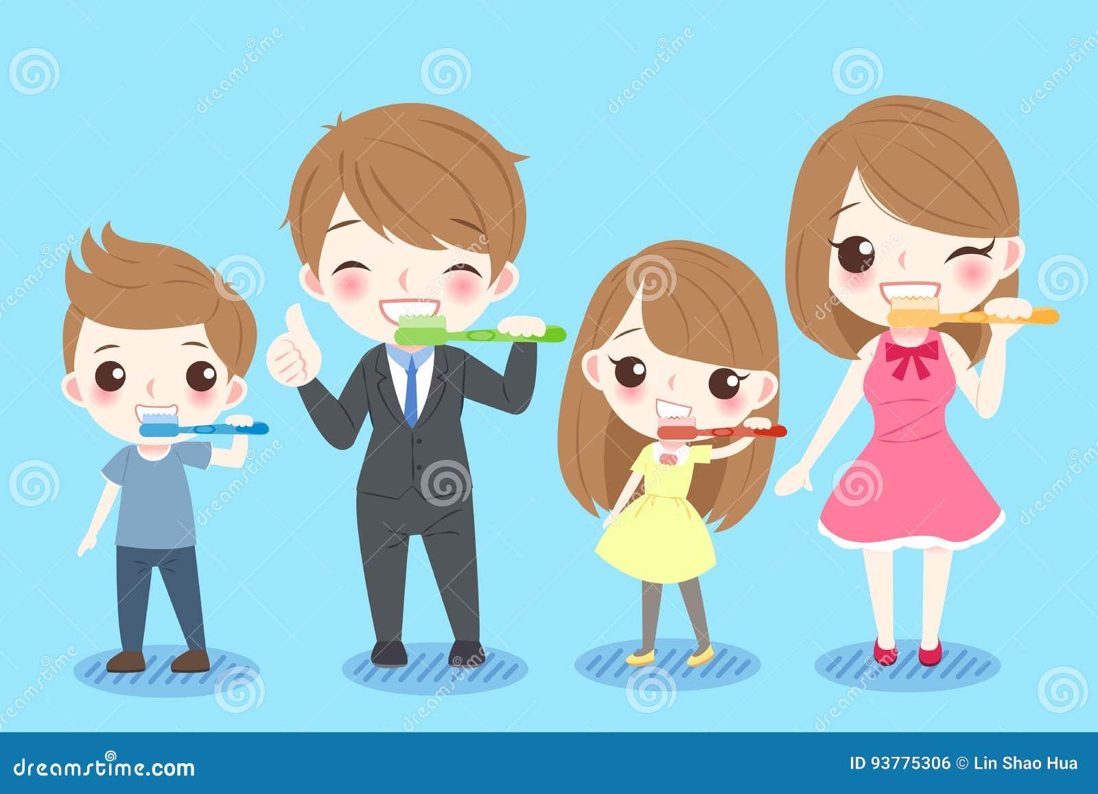 Famiglia con il concetto di salute del dente