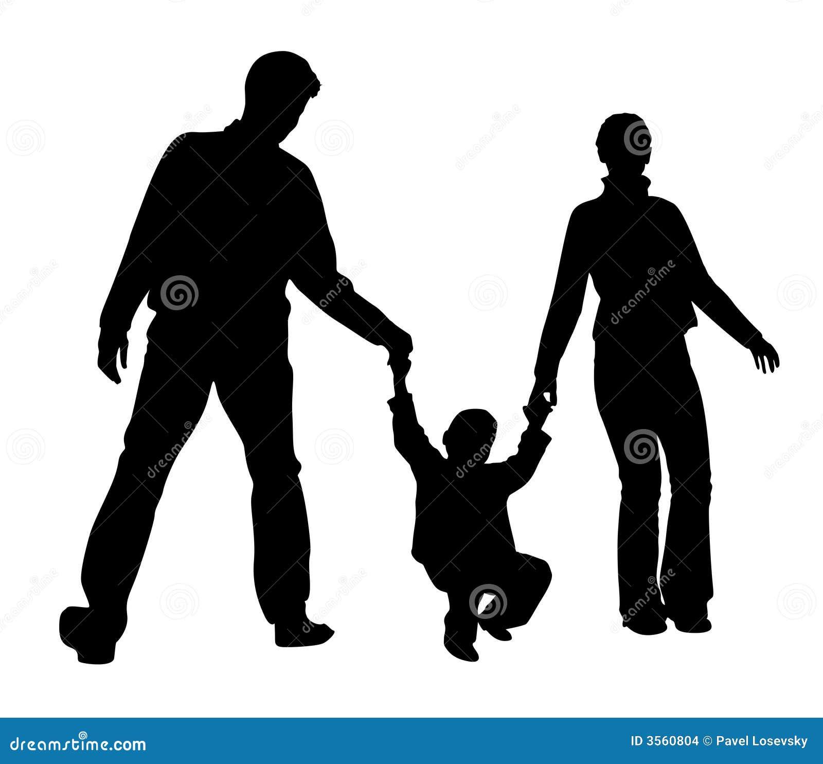 Famiglia con la siluetta del ragazzo
