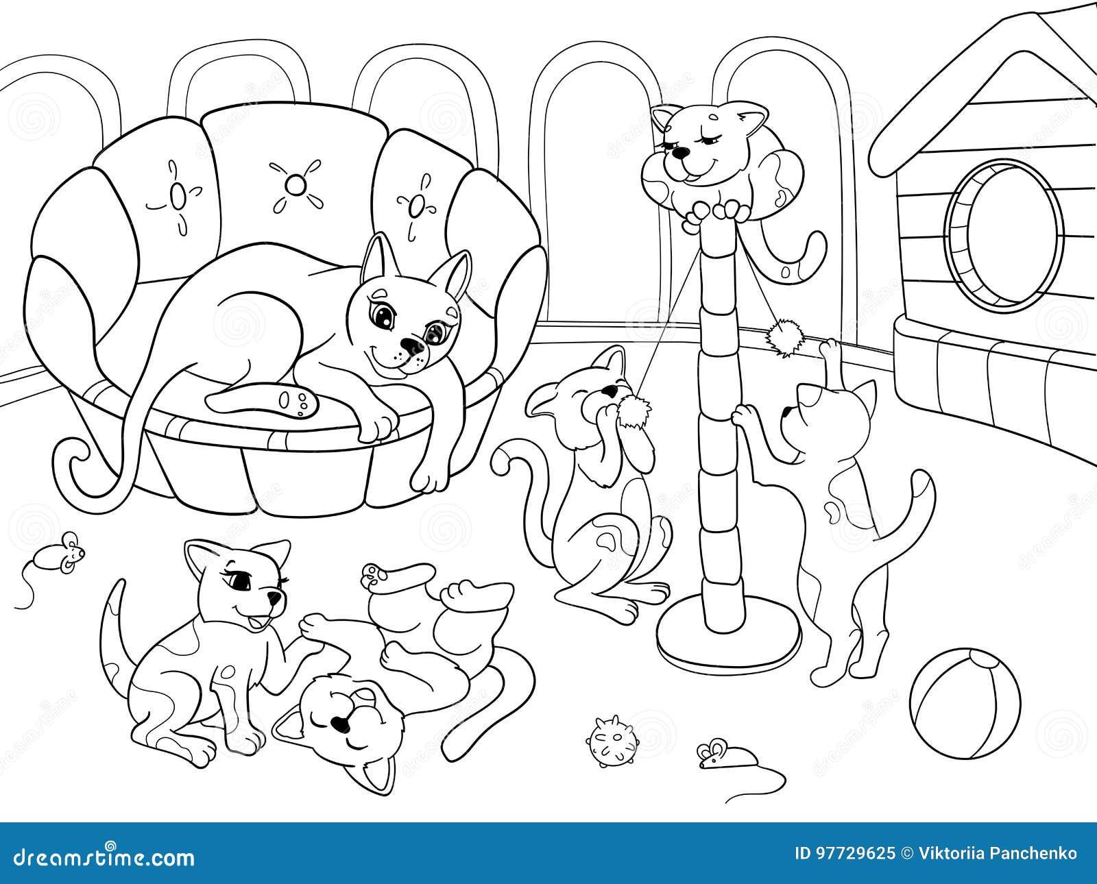 Famiglia Del Fumetto Del Libro Da Colorare Dei Bambini Sulla Natura