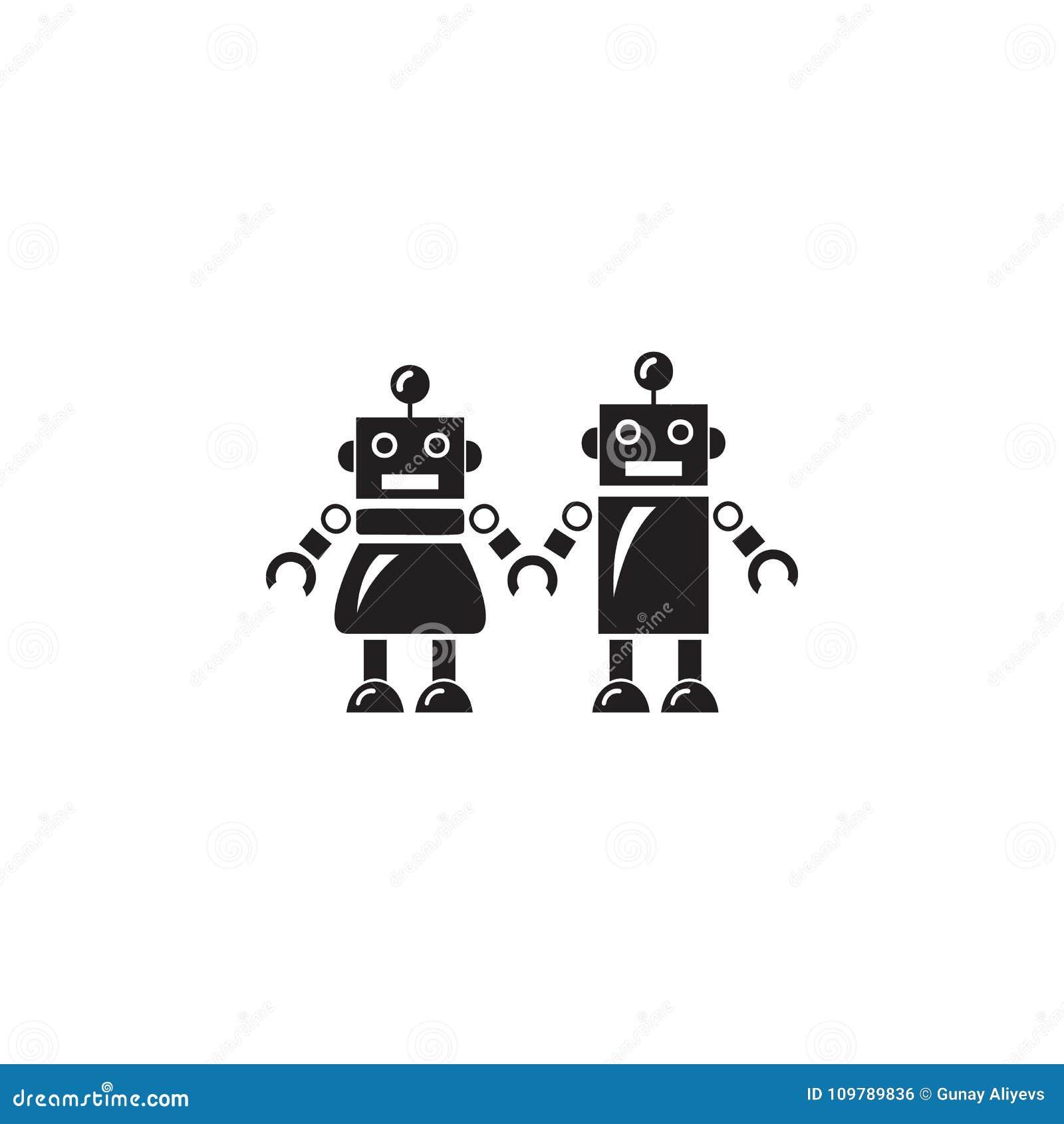 Famiglia dell icona dei robot Elemento dei robot per i cartelloni pubblicitari, il concetto mobile e i apps di web Icona per prog