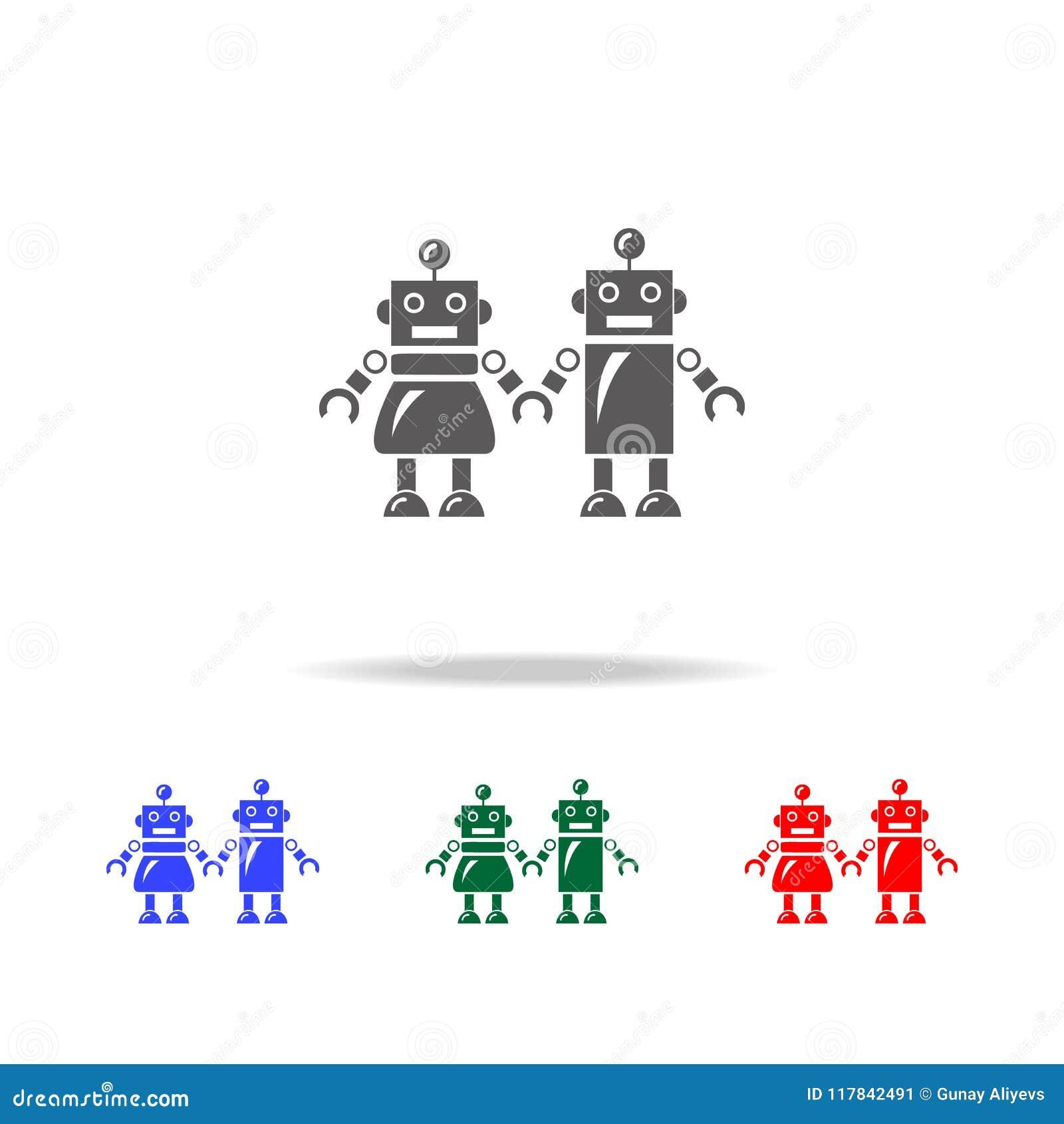 Famiglia delle icone dei robot Elementi dei robot nelle multi icone colorate Icona premio di progettazione grafica di qualità Ico