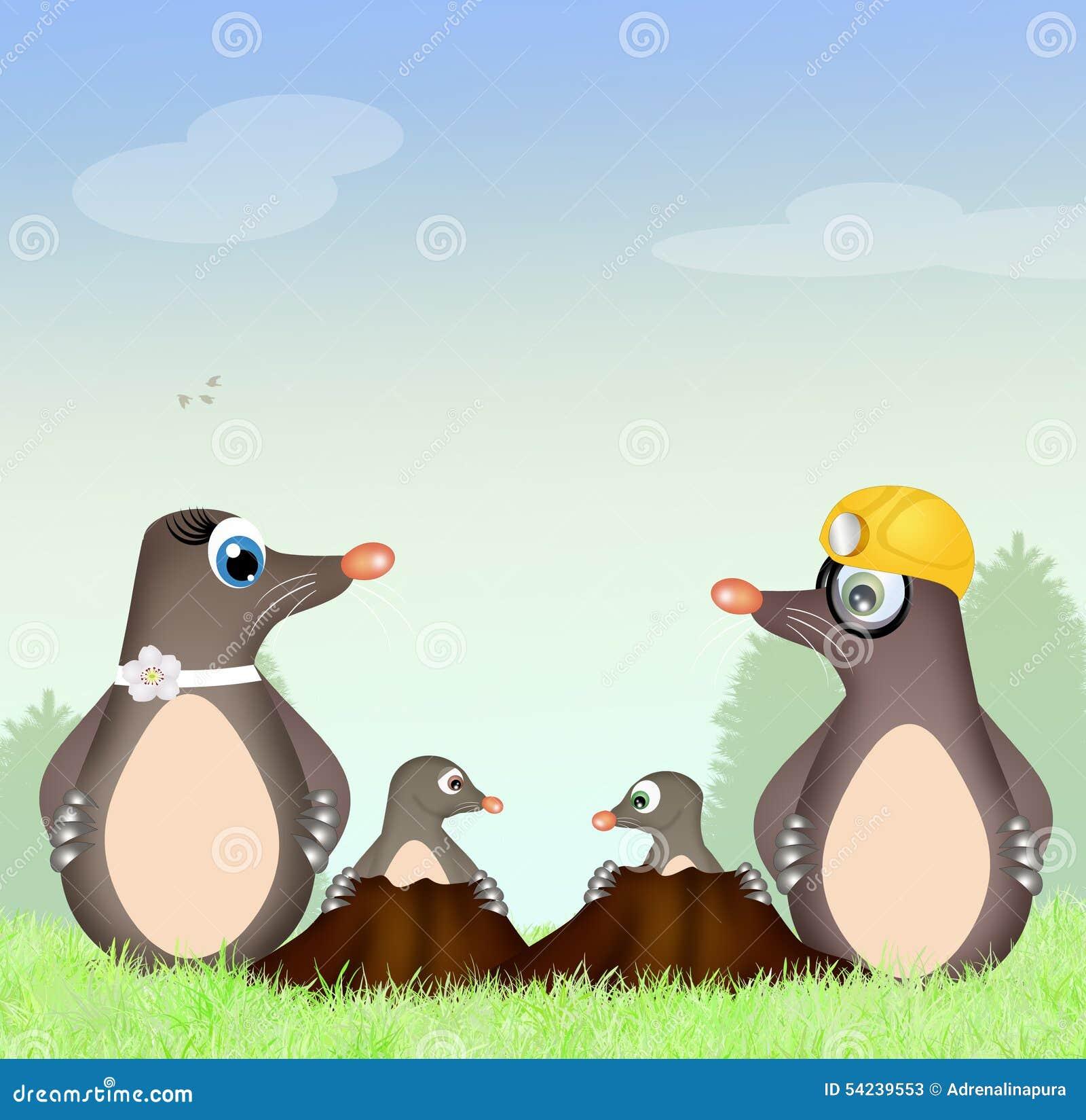 Famiglia delle talpe illustrazione di stock immagine di for Talpa mammifero