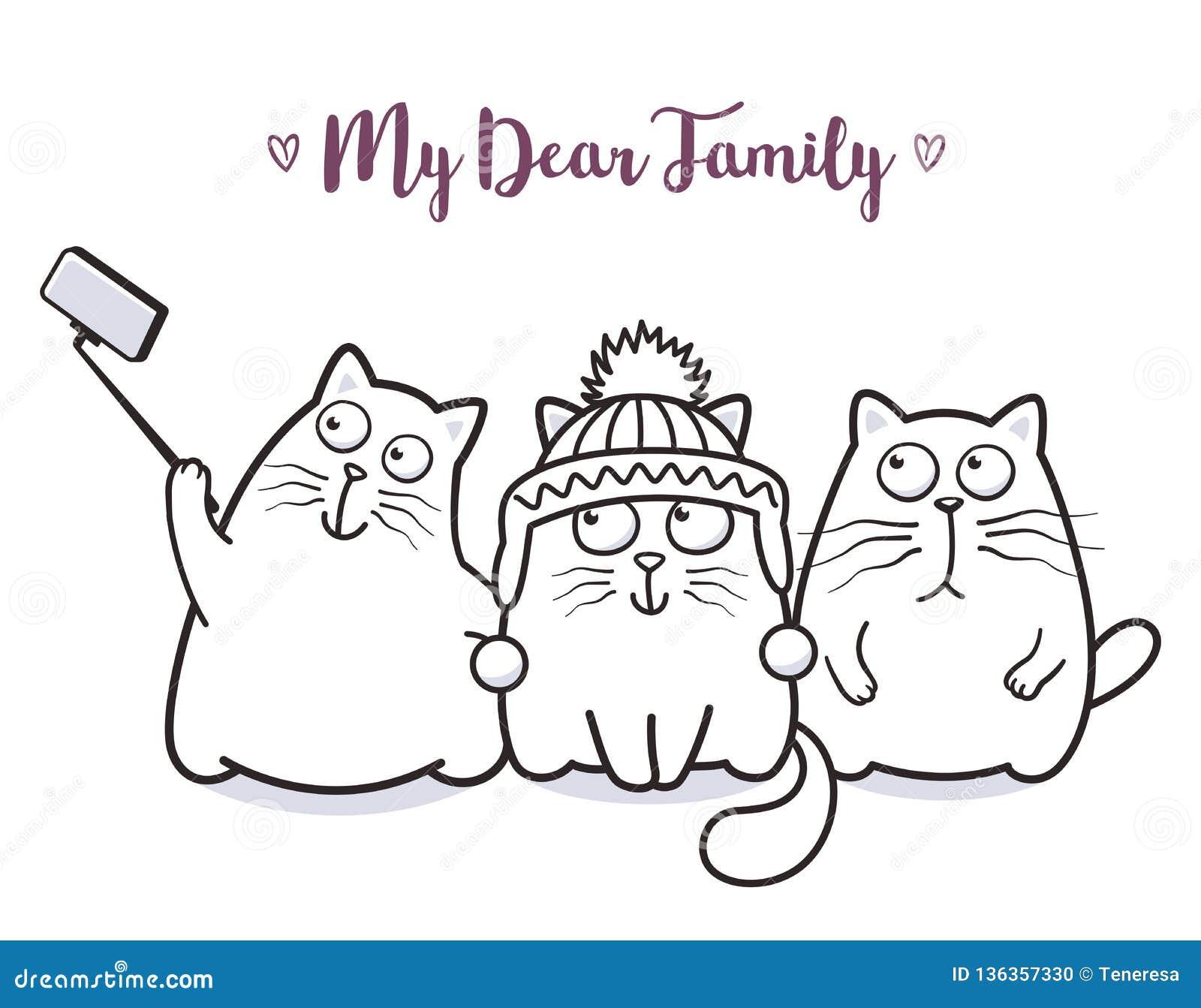 Famiglia di gatti divertente che prende selfie per progettazione della cartolina d auguri