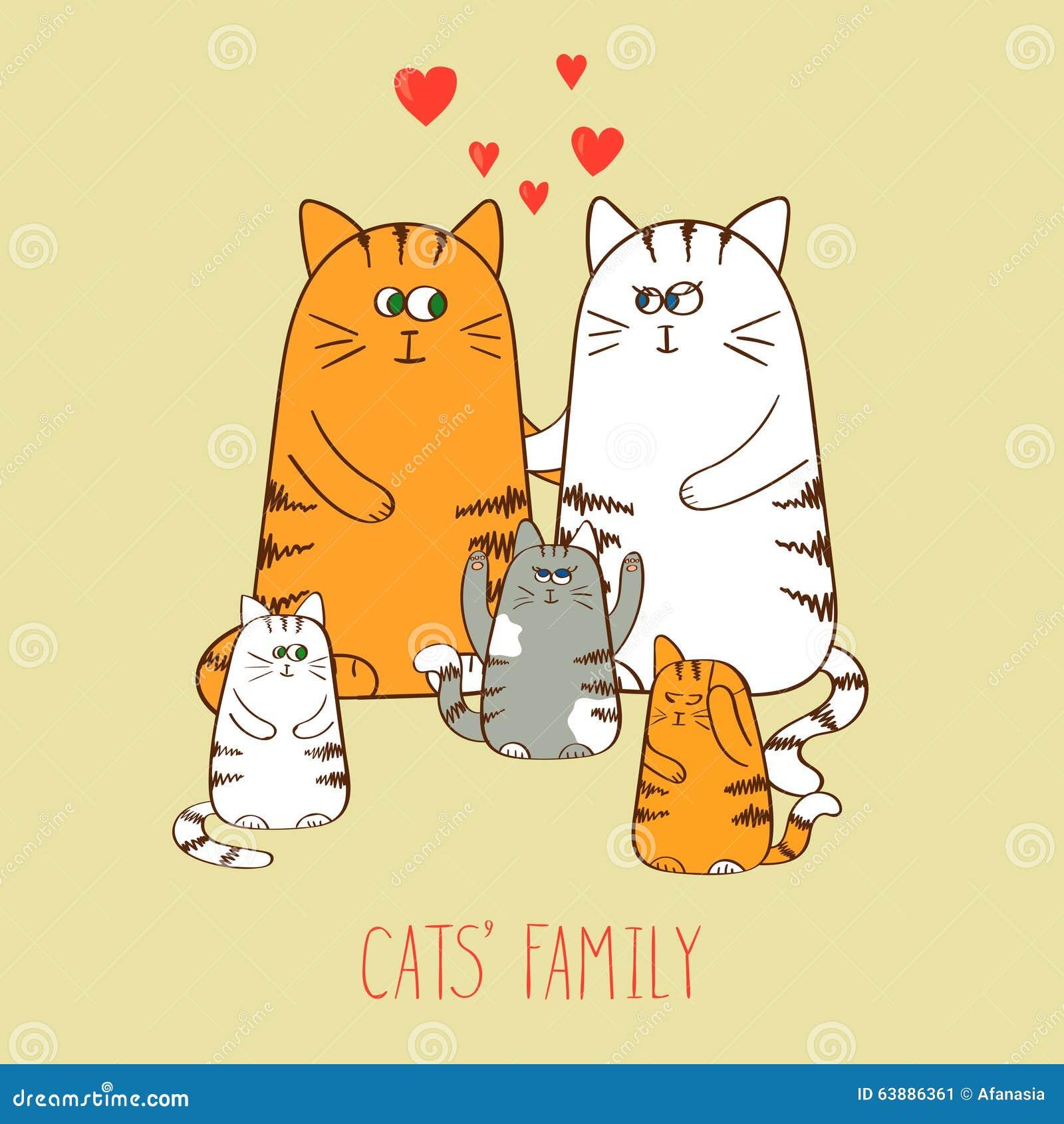 Famiglia di gatti Gattini svegli